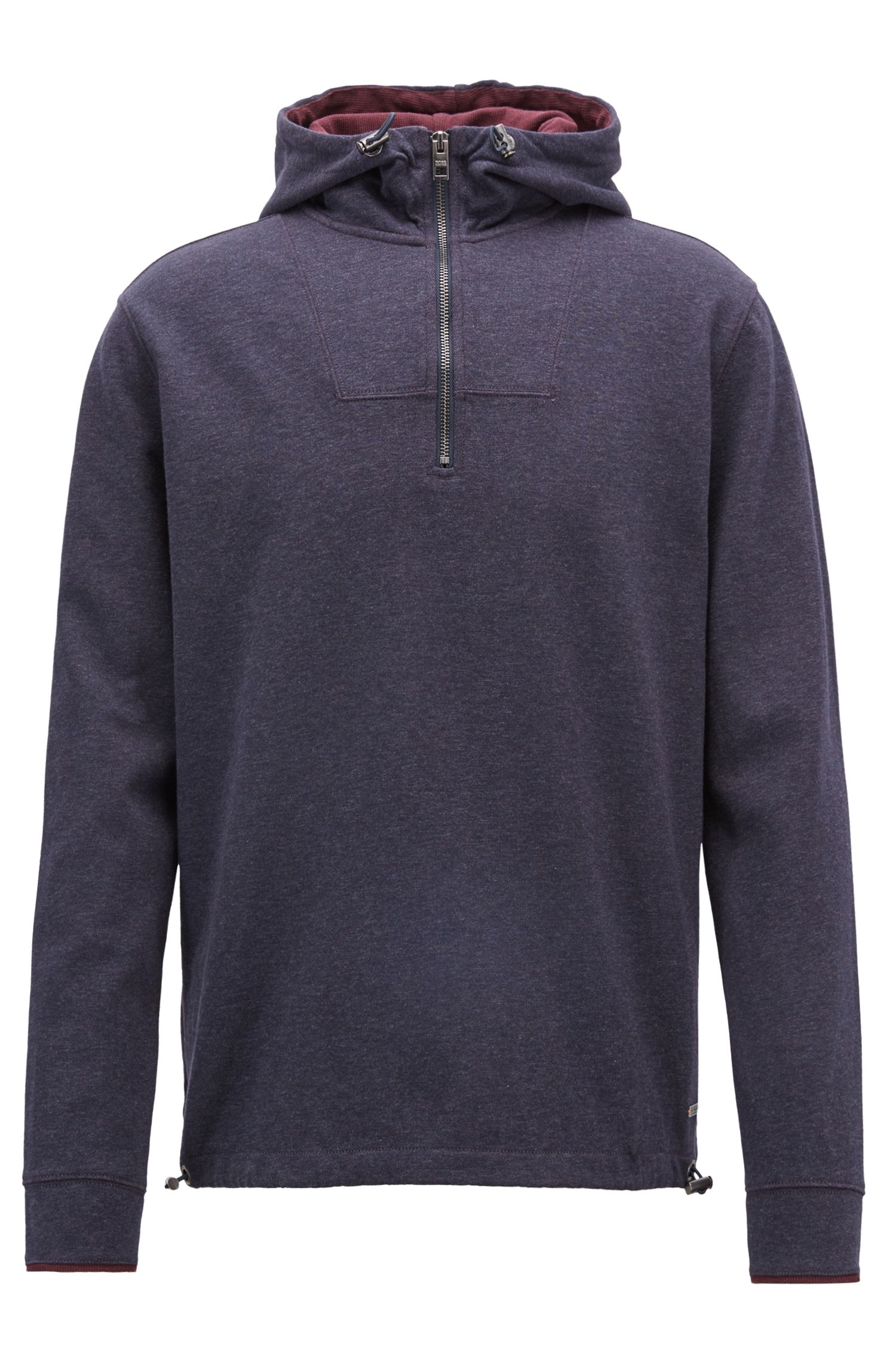 Relaxed-fit hooded sweatshirt in double-faced cotton, Dark Blue