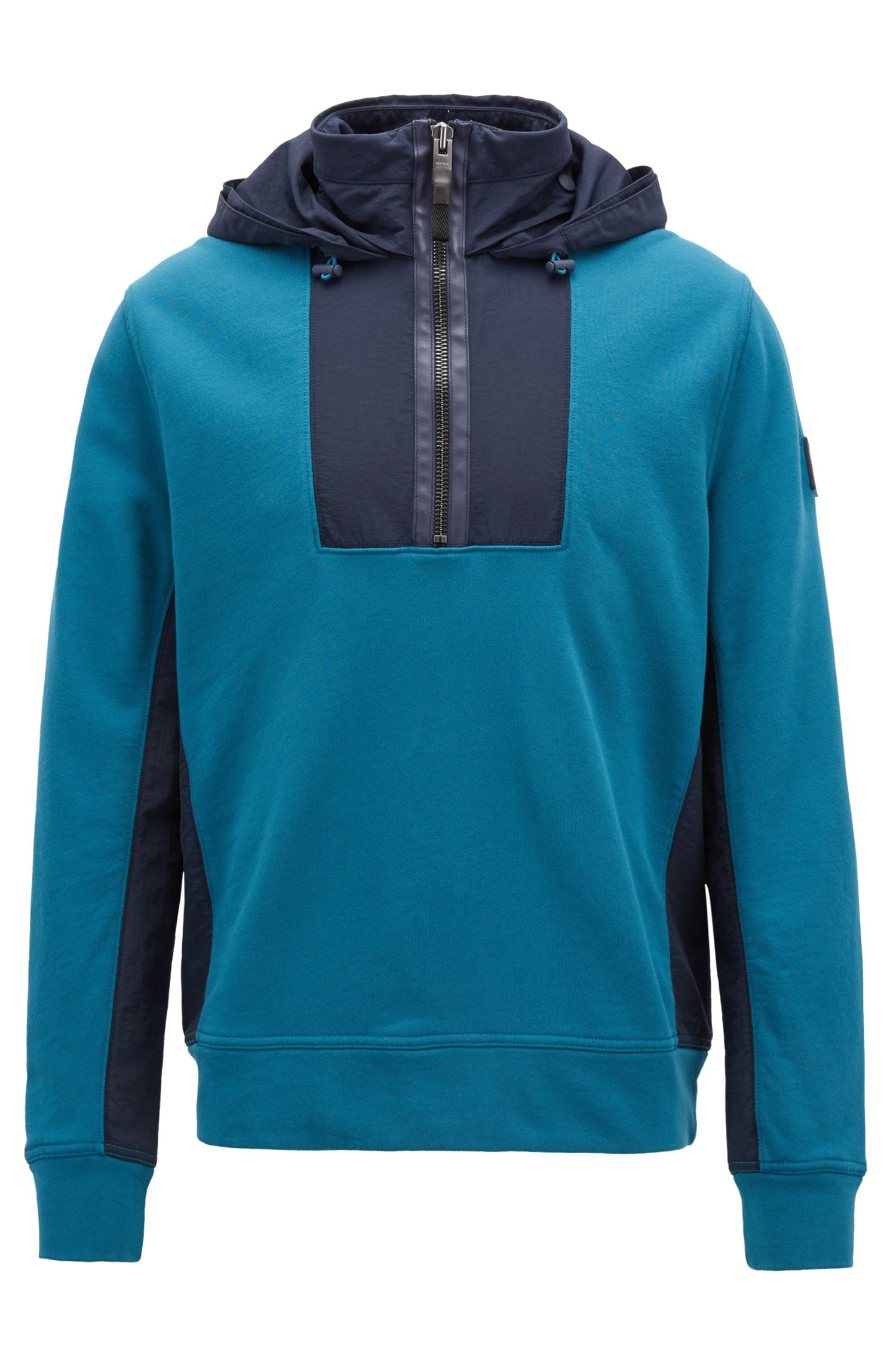 Hooded sweatshirt in French terry and technical fabric, Open Blue