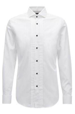 Slim-fit dress shirt in brilliant-white Austrian cotton, White