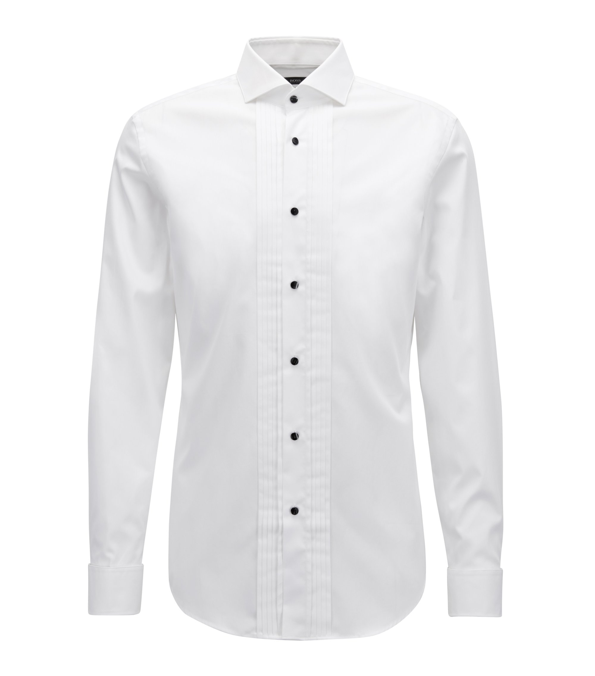 Slim-fit dress shirt in brilliant-white Austrian cotton, White