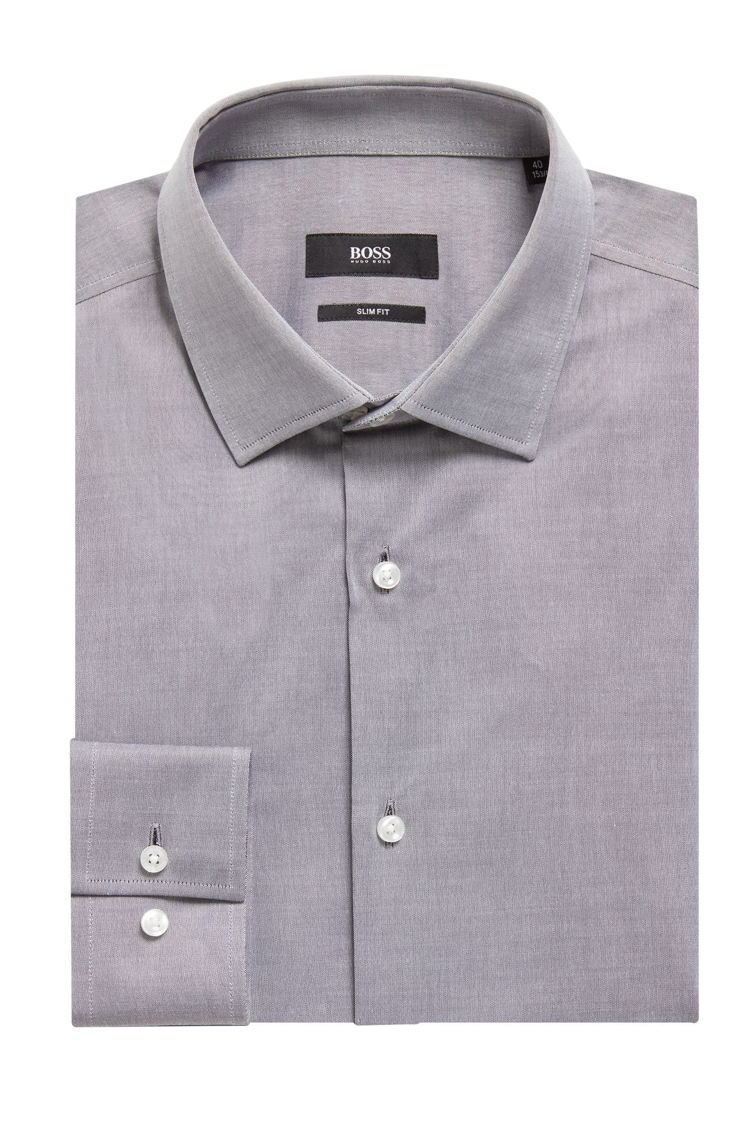 Slim-fit cotton shirt with striped inner fabric, Dark Blue