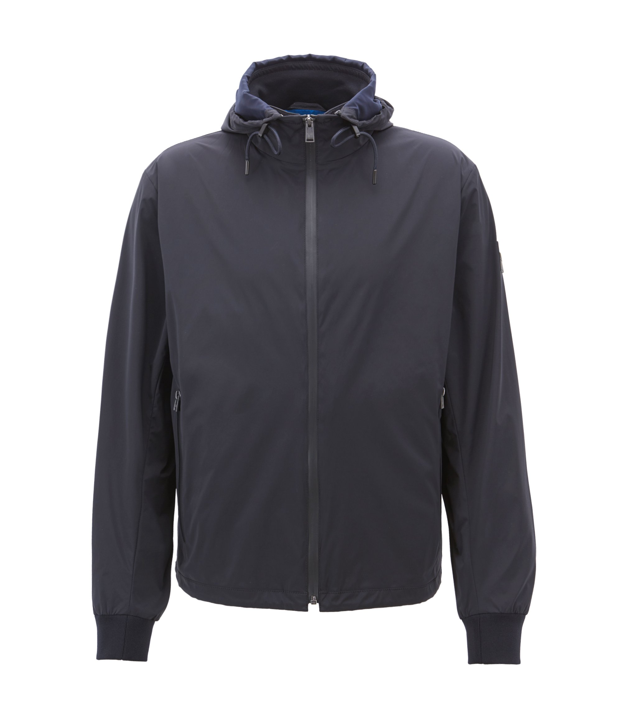 Water-repellent packable windbreaker with detachable hood, Open Blue