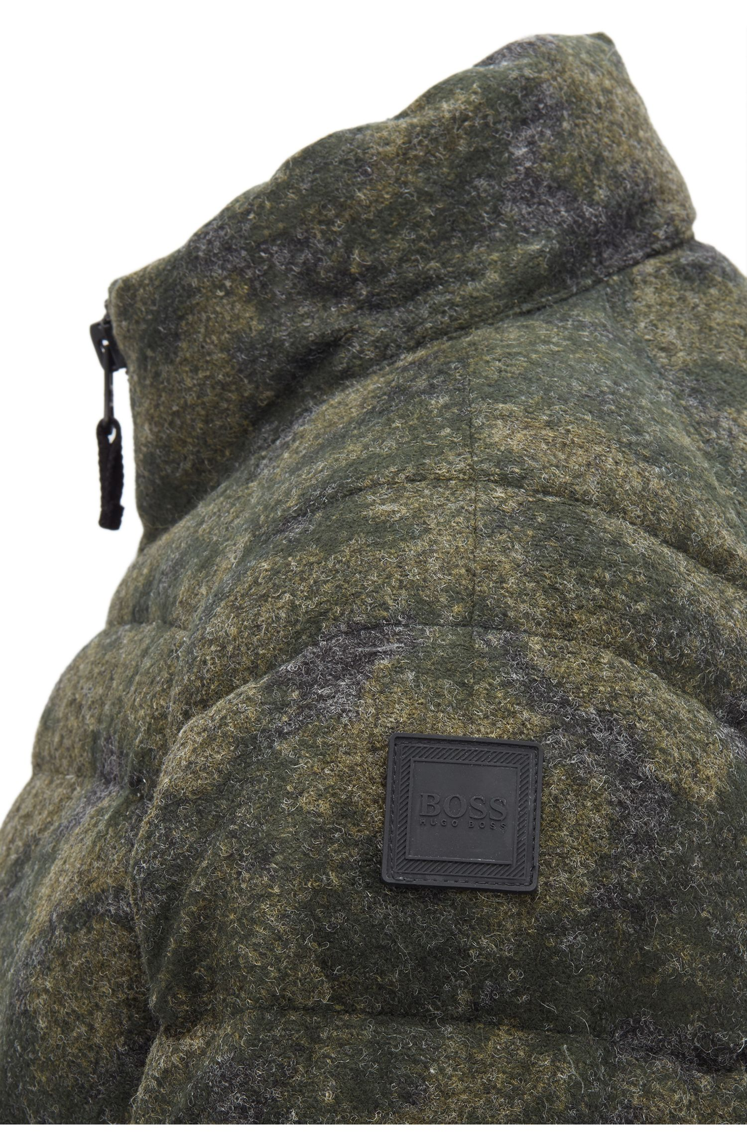 Down jacket in felted camouflage fabric, Dark Green