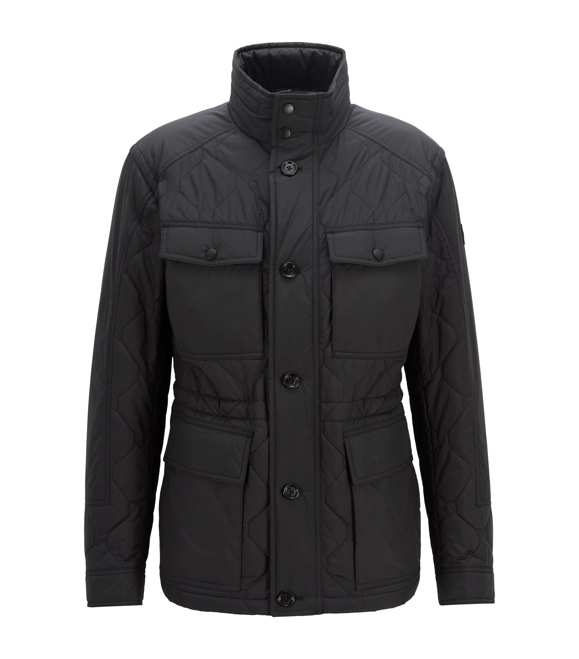 Regular-fit quilted field jacket with water-repellent outer, Black