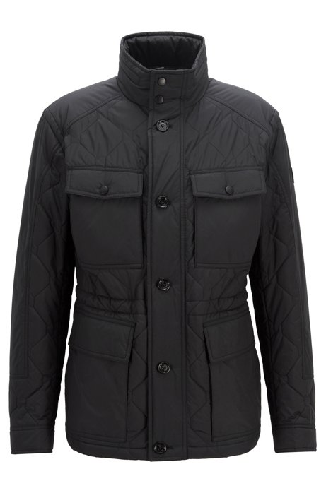Boss Regular Fit Quilted Field Jacket With Water Repellent Outer