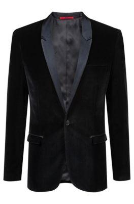 Extra-slim-fit velvet blazer with silk lapels, Black