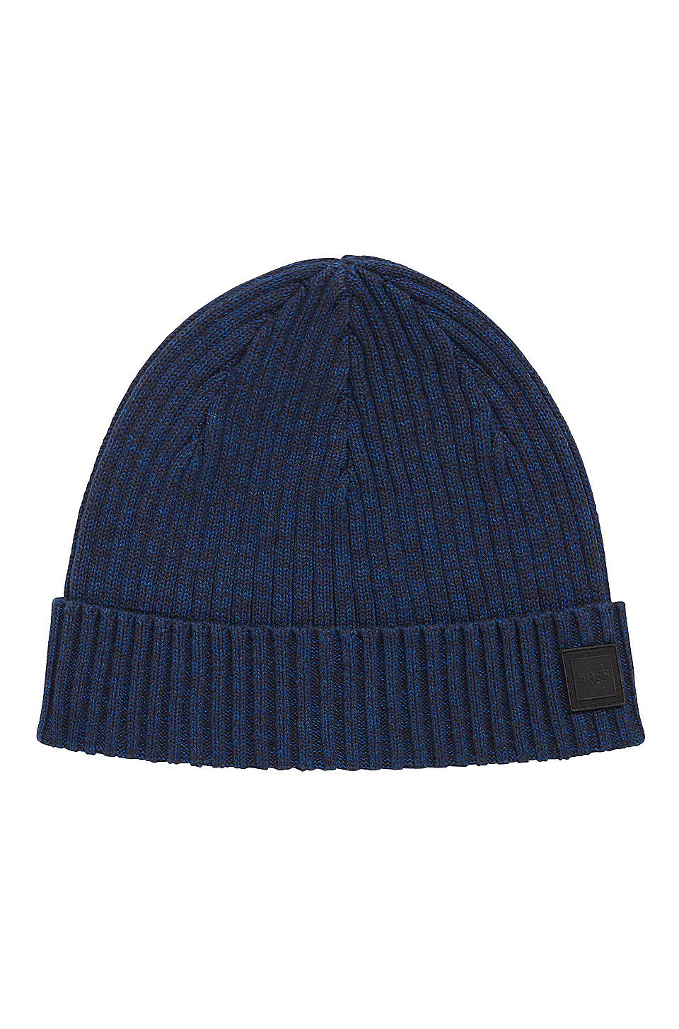 5912ac20d75 BOSS - Ribbed beanie hat in a mouliné cotton blend