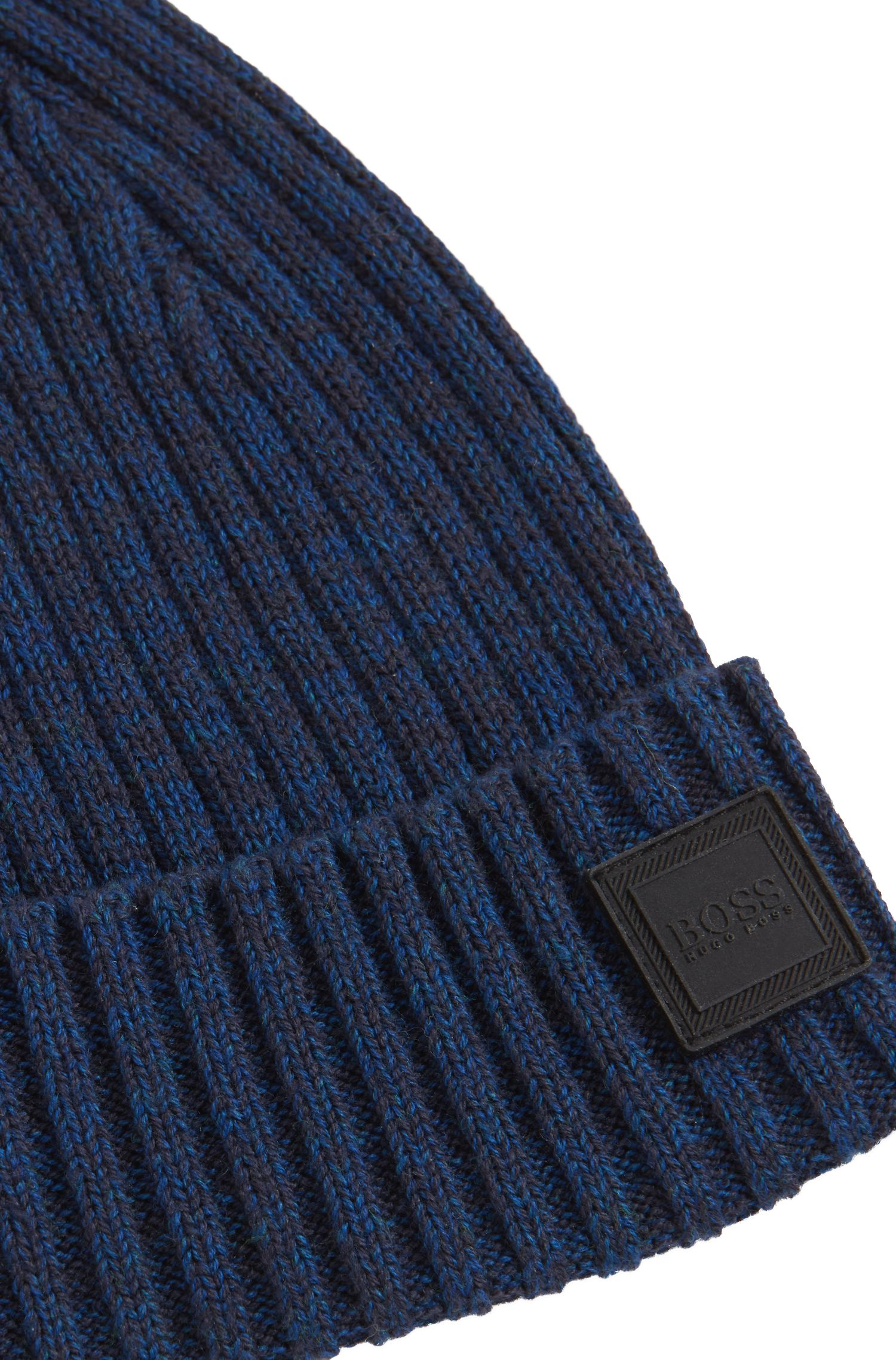 Ribbed beanie hat in a mouliné cotton blend, Dark Blue