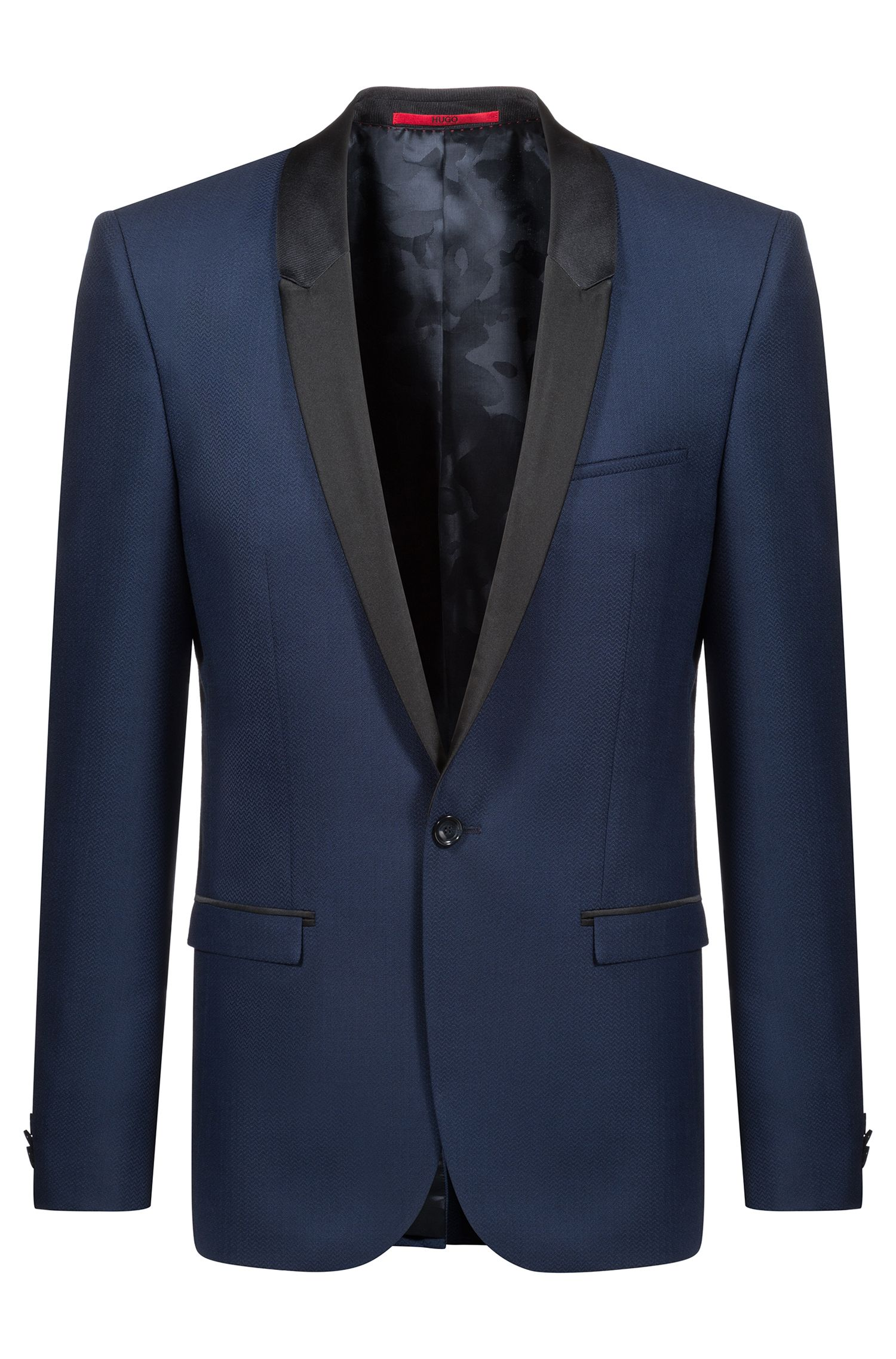 Extra-slim-fit dinner jacket with silk shawl lapels, Blue