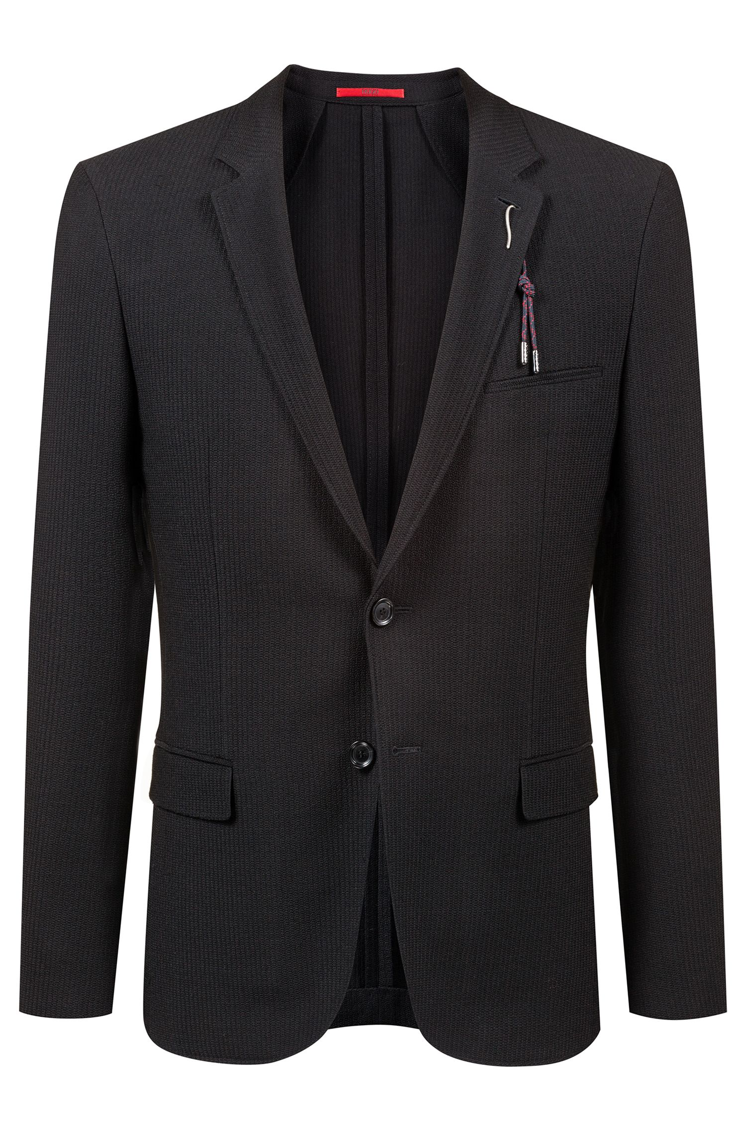 Extra-slim-fit wool-blend jacket with removable embellishment, Black