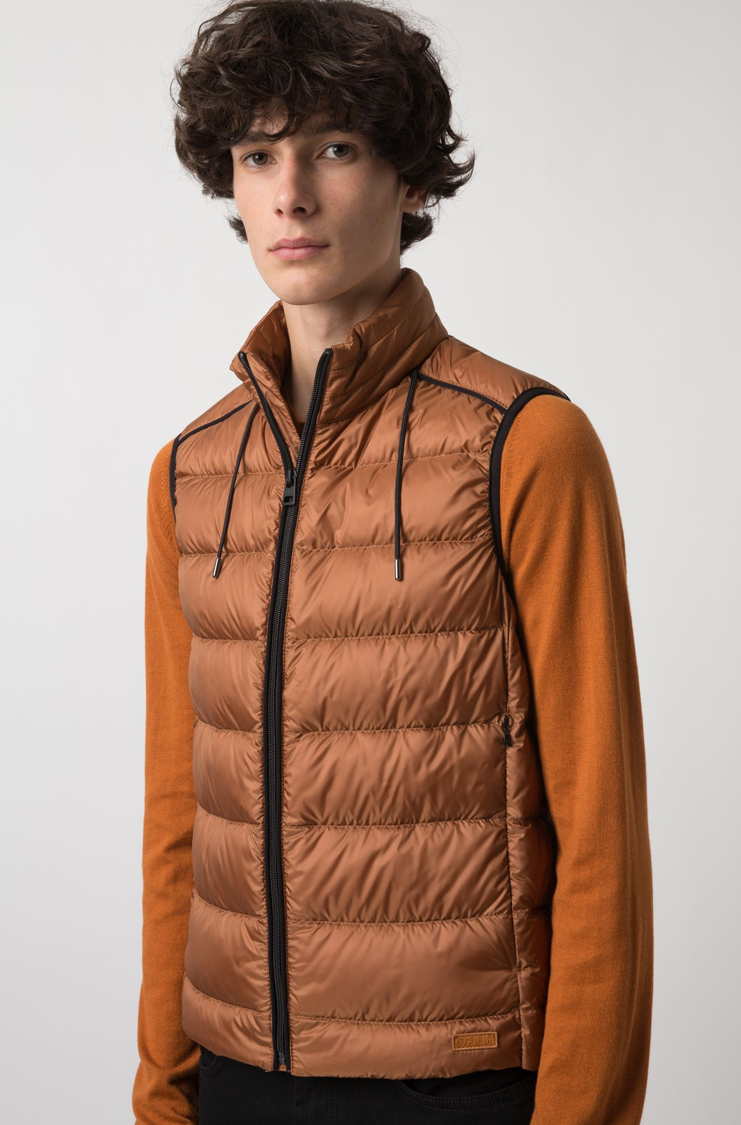 Down-filled gilet in water-repellent fabric with hood, Brown