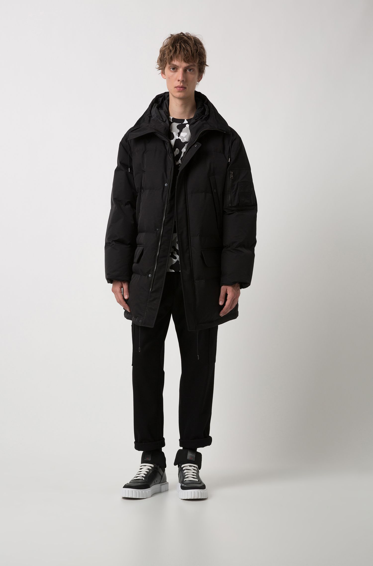 Hooded down-filled jacket with water-repellent outer, Black