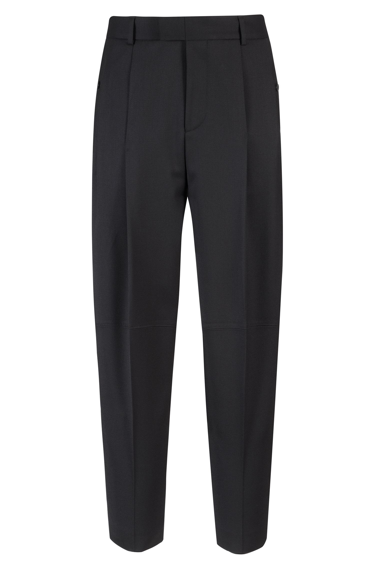 Slim-fit pants in wool-blend twill with stretch, Black