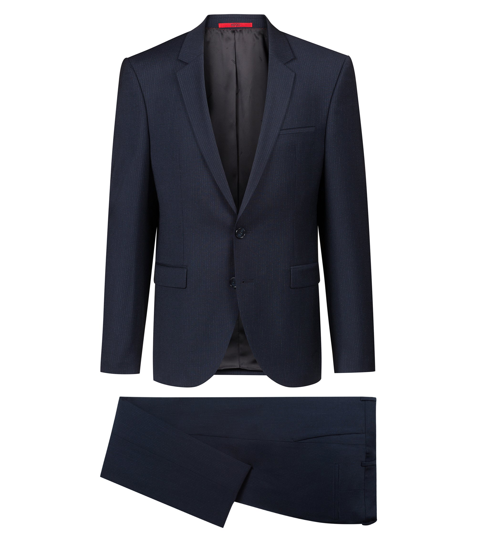 Extra-slim-fit suit in micro-patterned stretch wool, Dark Blue