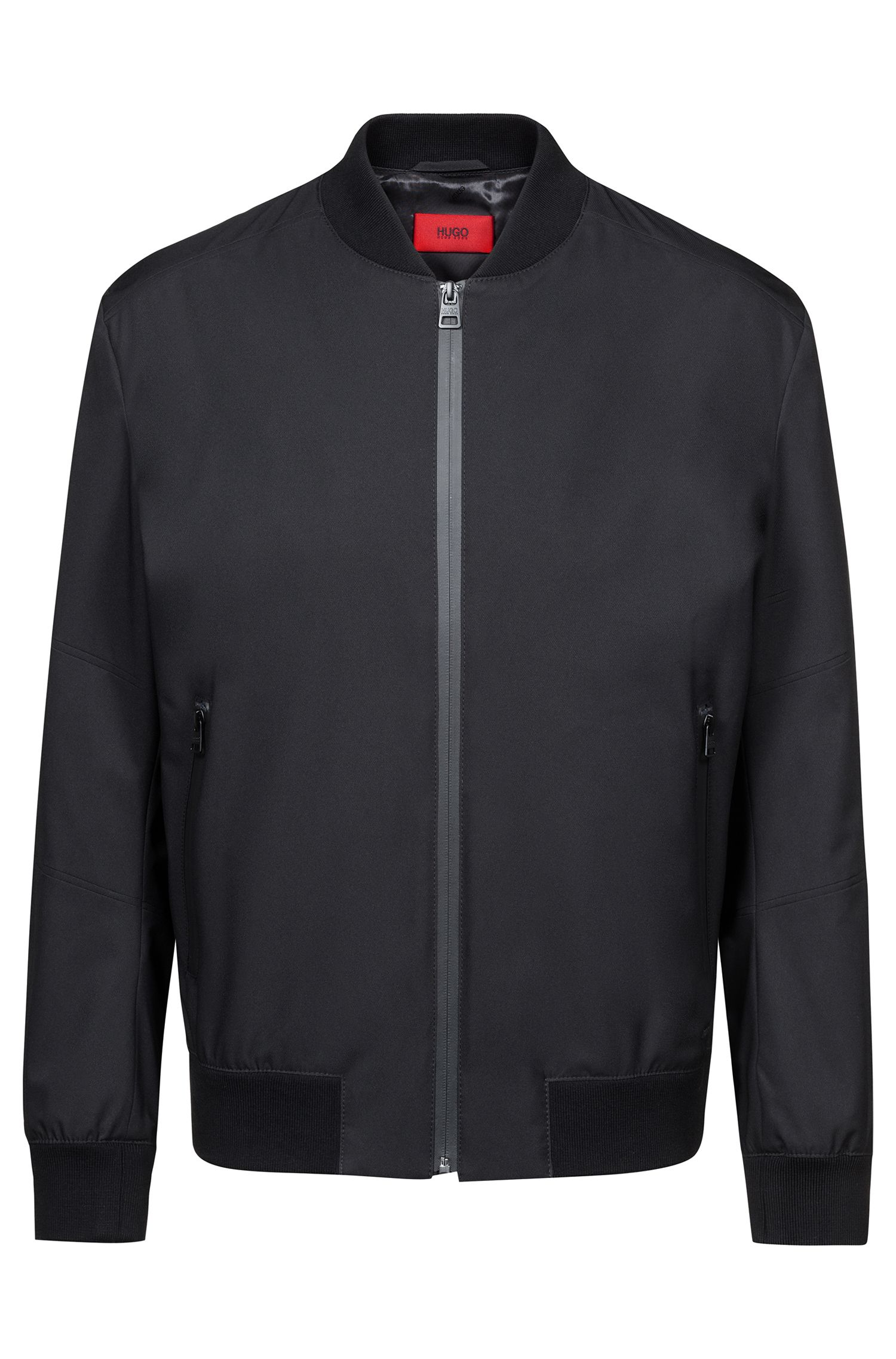 Water-repellent jacket with zippered front, Black