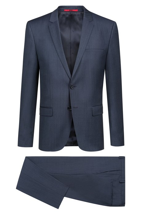 efb3176cd Extra-slim-fit virgin-wool suit with woven pattern. Arti/Hesten182 -  50393908
