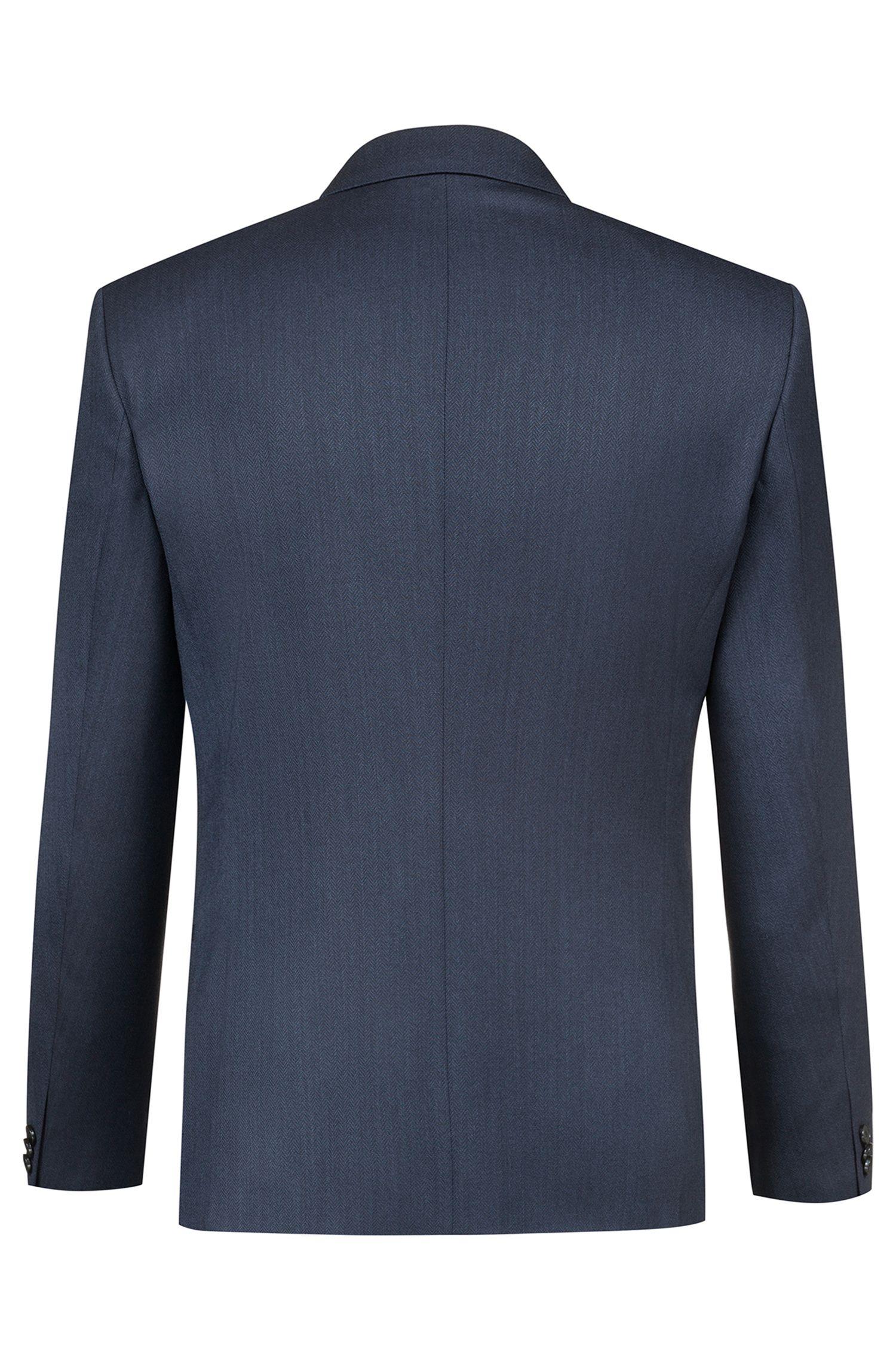 Extra-slim-fit three-piece suit in herringbone stretch wool, Dark Blue