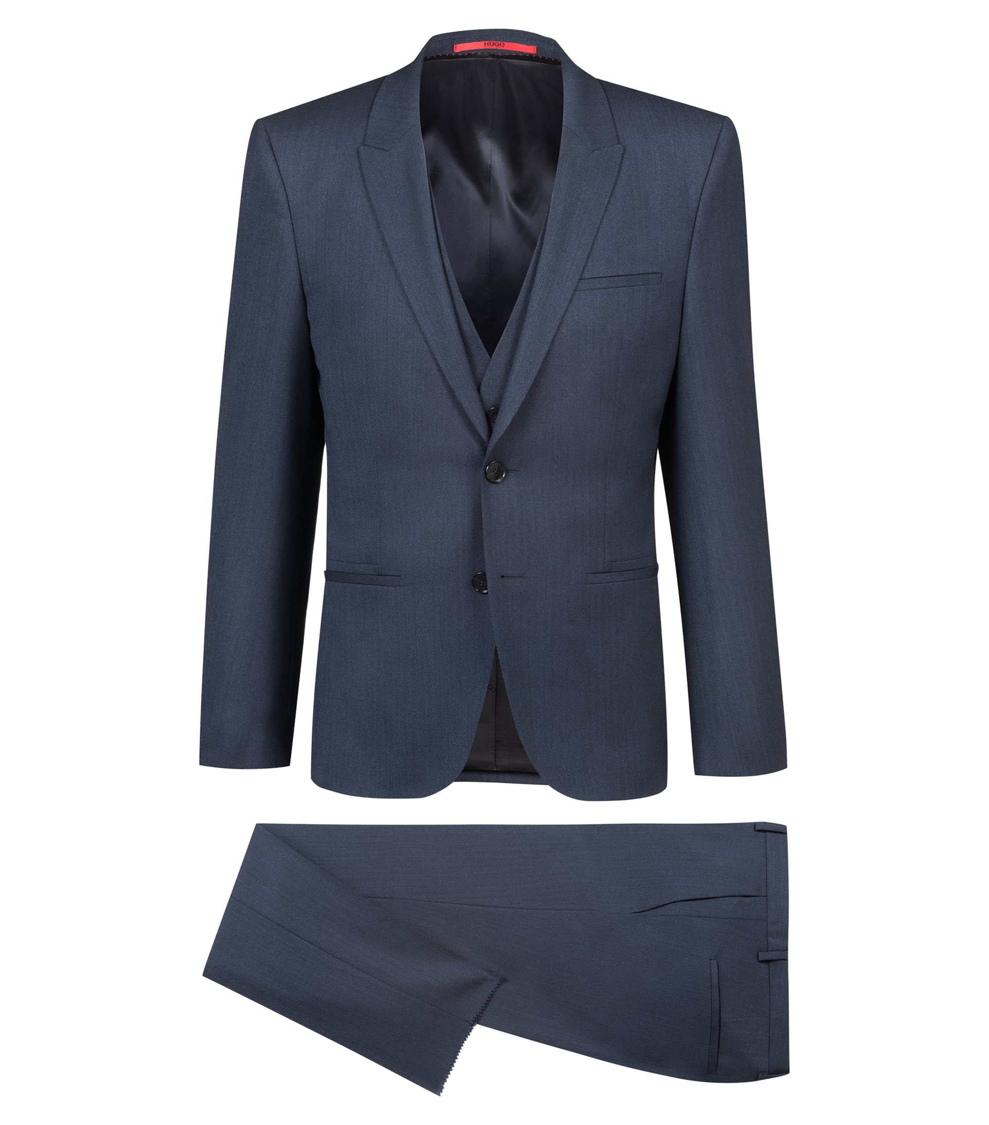 Extra-slim-fit three-piece suit in herringbone stretch wool, Dark Blue
