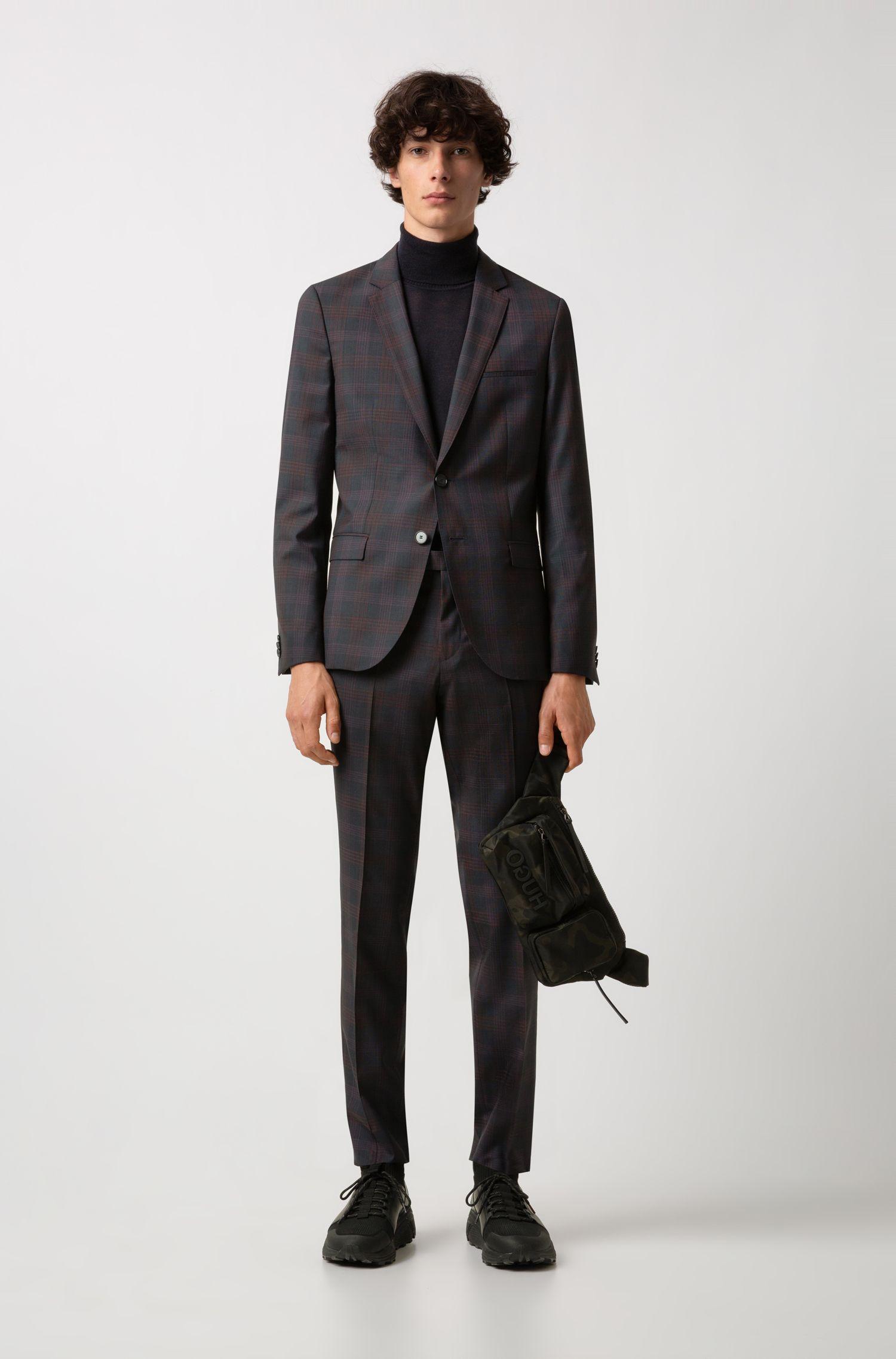 Extra-slim-fit checked suit in virgin wool, Dark Blue
