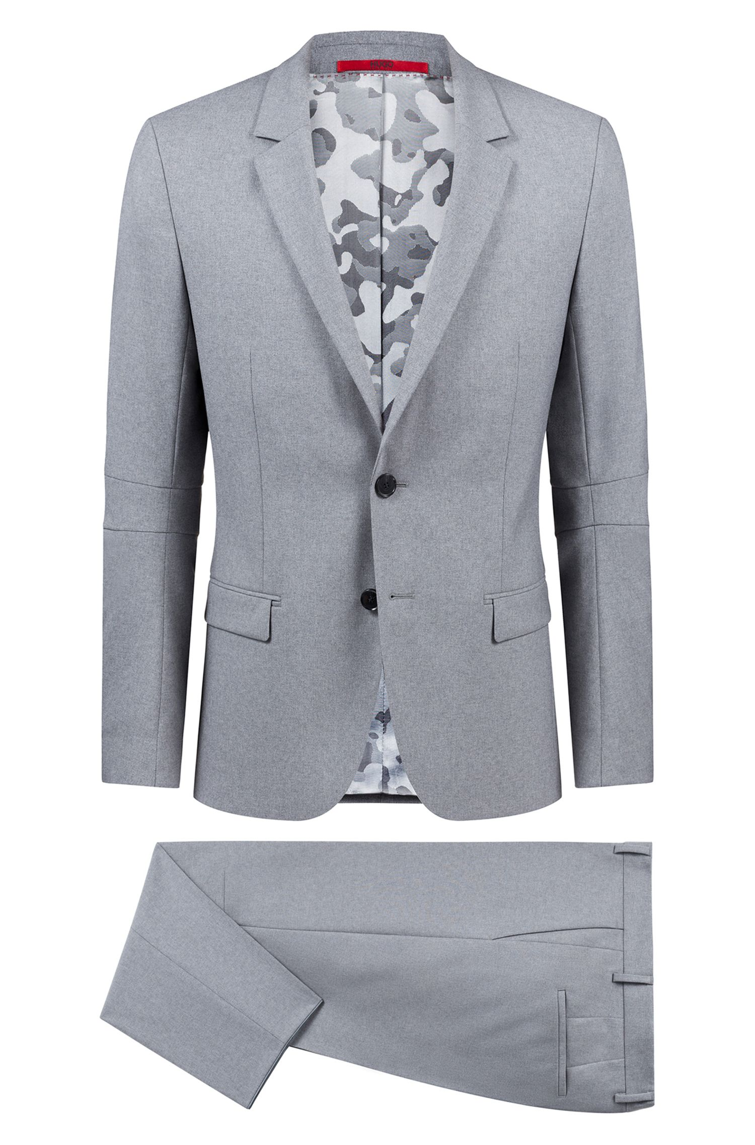 Extra-slim-fit virgin-wool suit with camouflage lining, Grey
