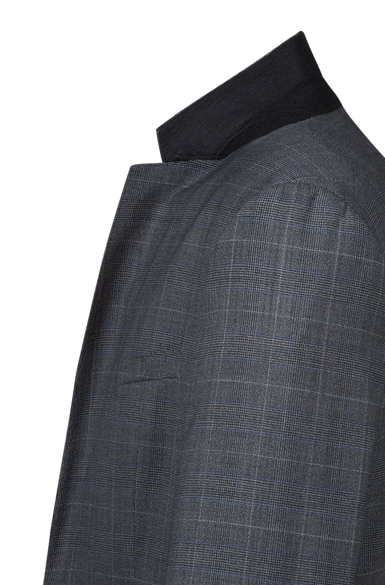 Extra-slim-fit three-piece suit in checked virgin wool, Charcoal