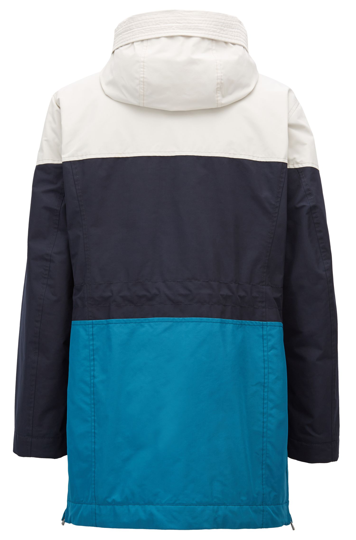 Color-block parka jacket in soft-touch technical fabric, Dark Blue
