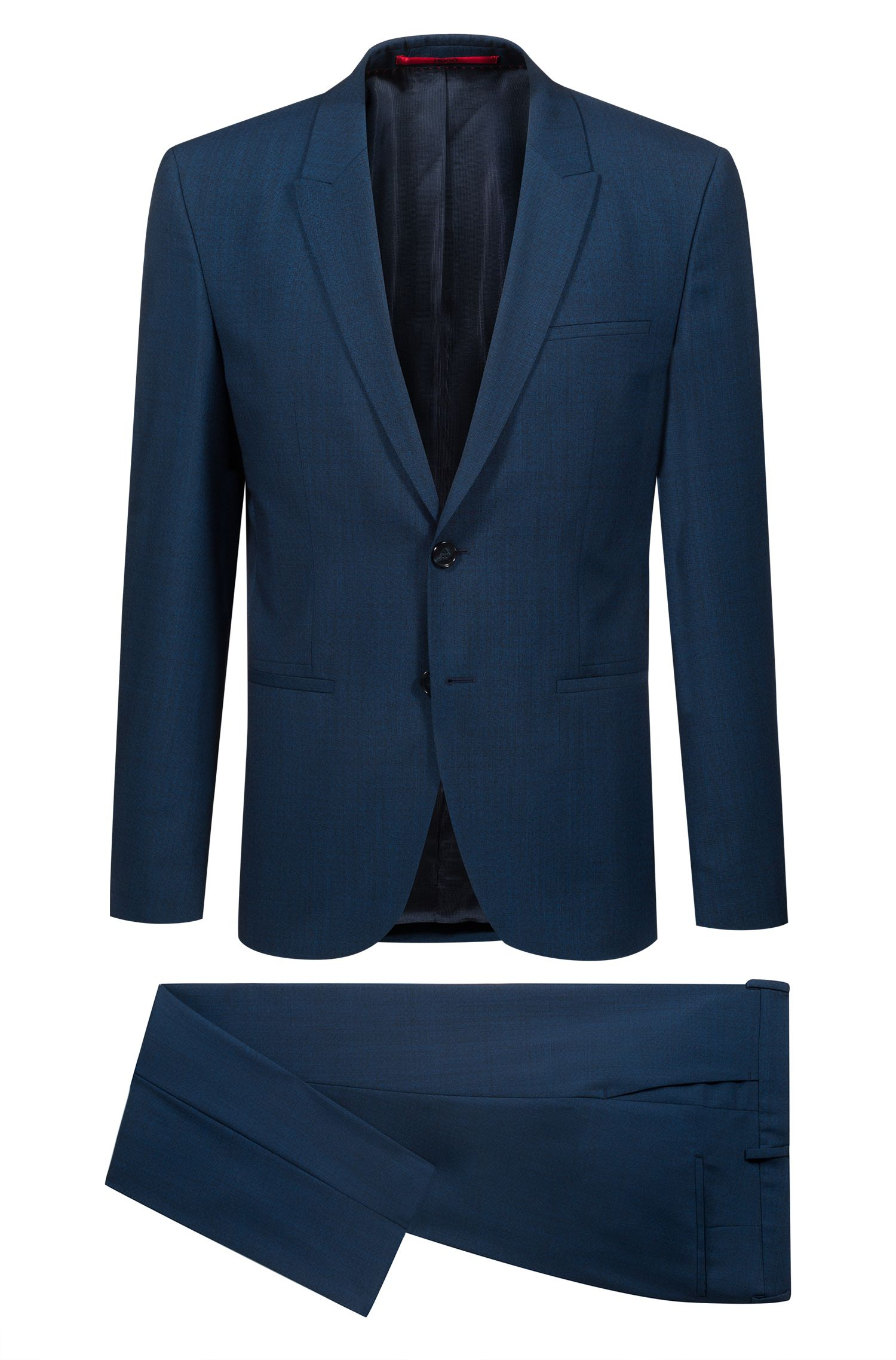 Extra-slim-fit three-piece suit in patterned virgin wool, Blue