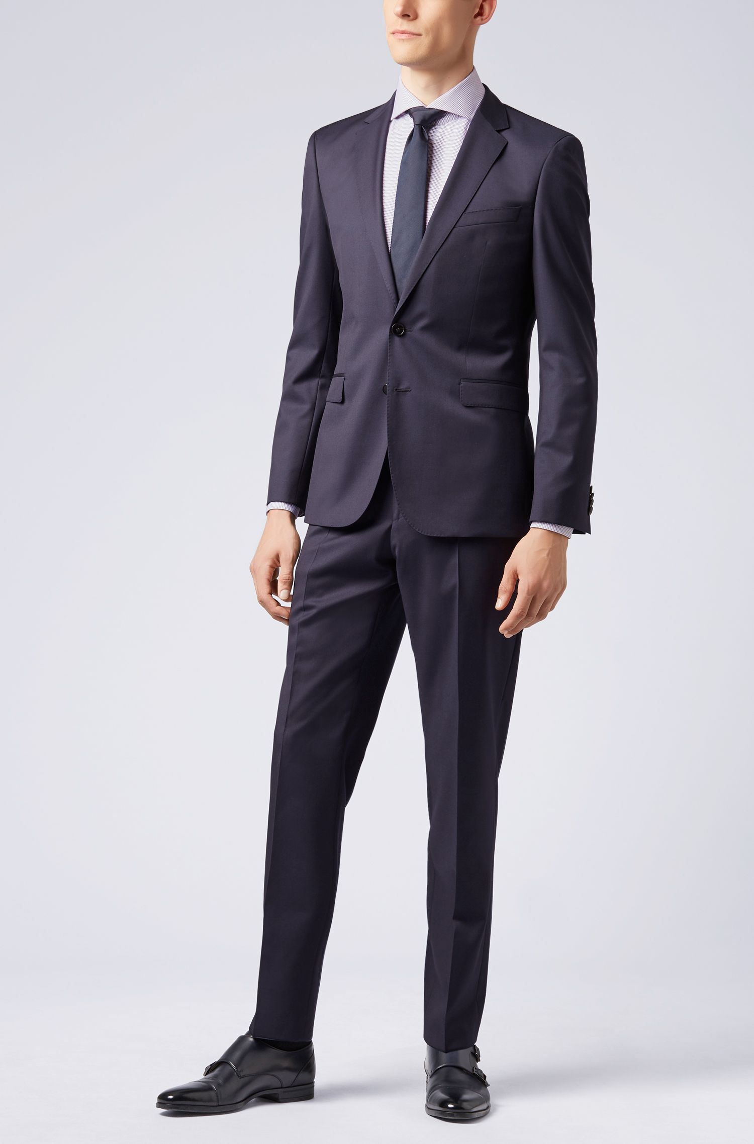 Tailored slim-fit shirt in micro-checked Italian cotton, Purple