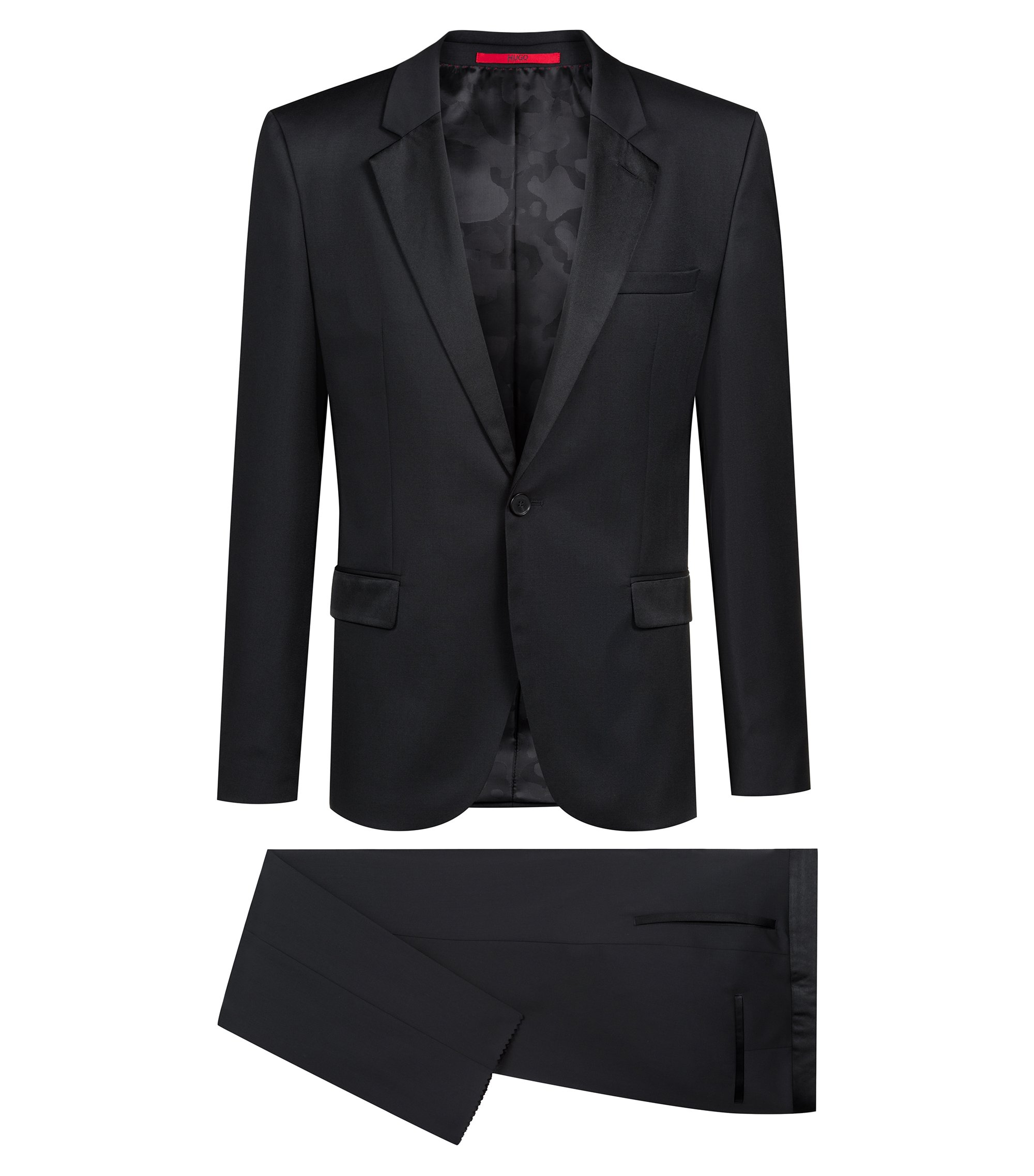 Extra-slim-fit tuxedo in virgin wool with reverse lapels, Black