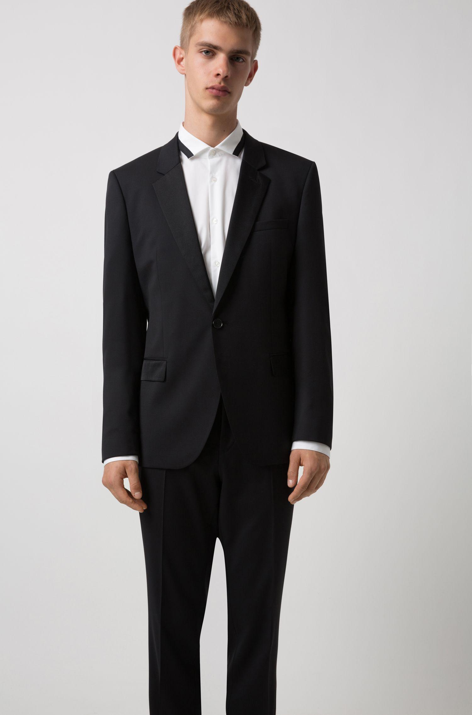 Extra-slim-fit tuxedo in virgin wool with reverse lapels, Black