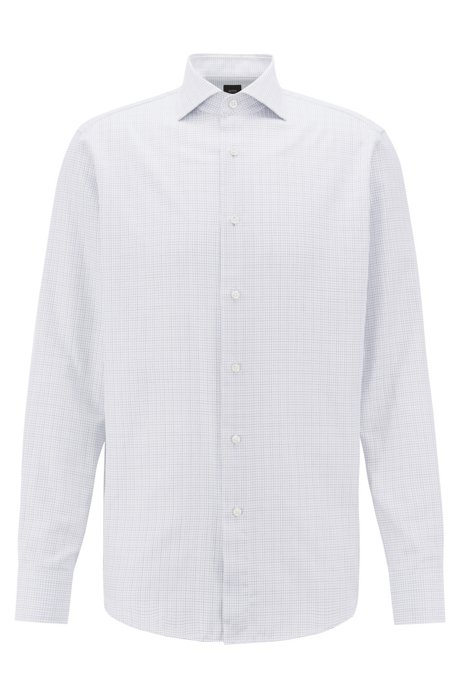 BOSS Tailored regular-fit cotton shirt with geometric structure, Blue