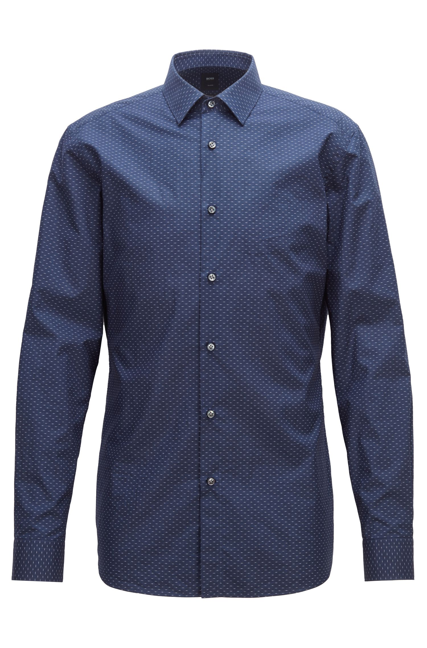 Tailored slim-fit shirt in micro-patterned Italian cotton, Dark Blue