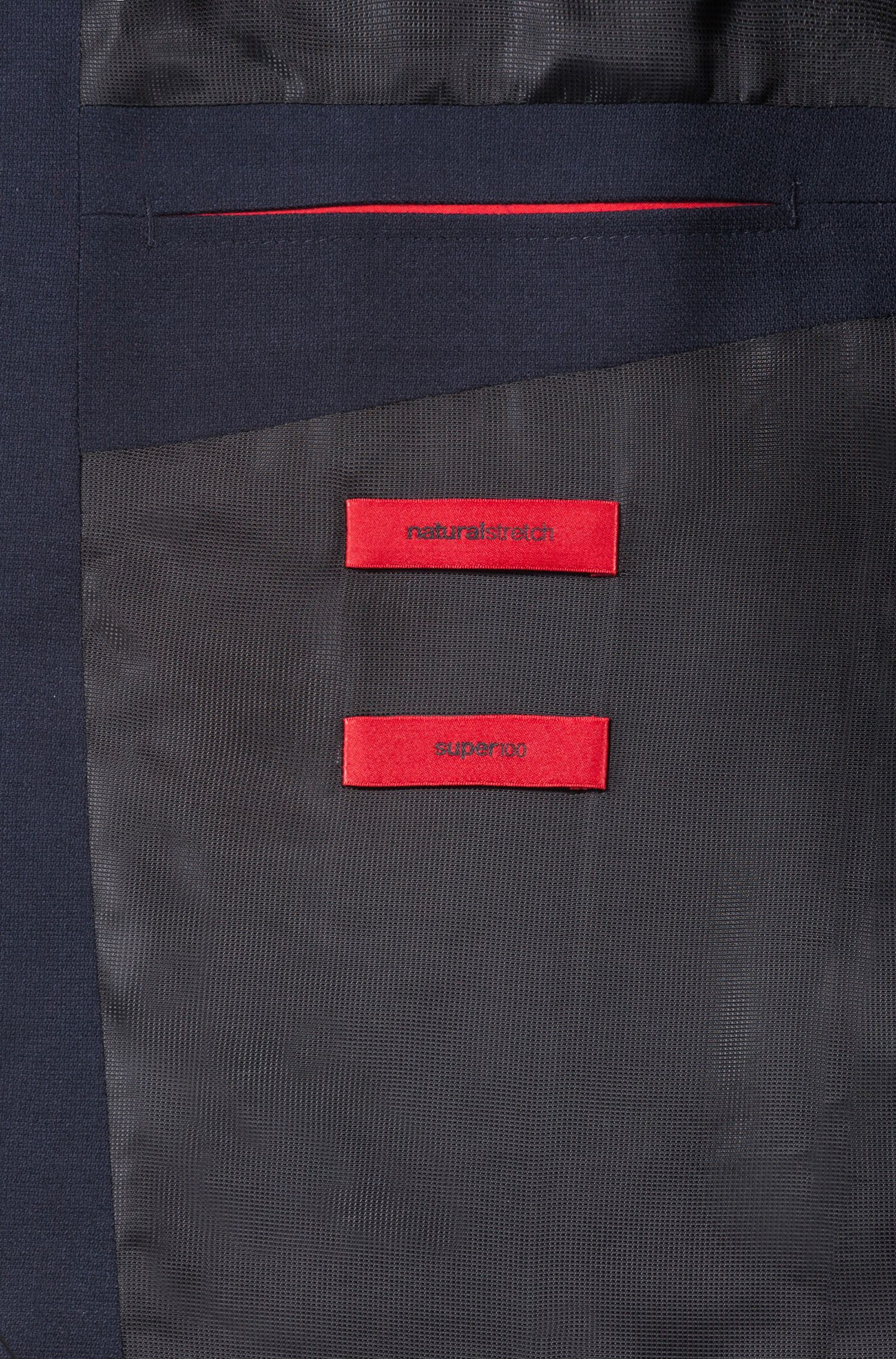 Unisex suit in virgin wool with natural stretch, Dark Blue