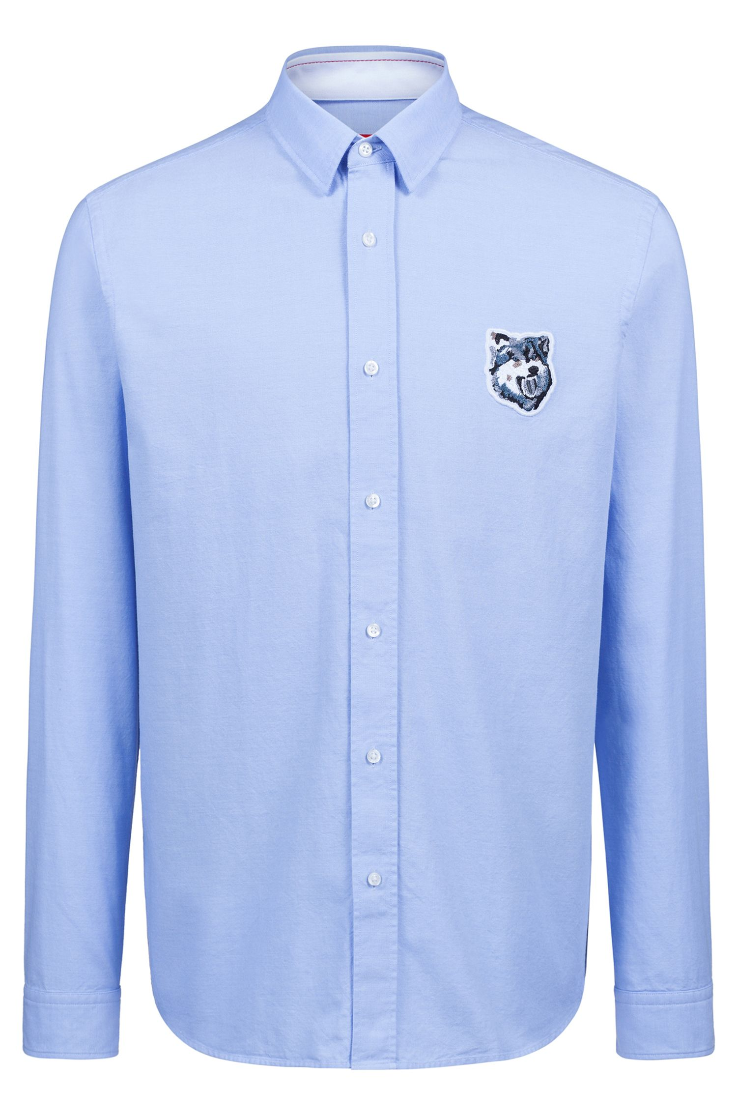 Relaxed-fit shirt in Oxford cotton with wolf motif, Light Blue