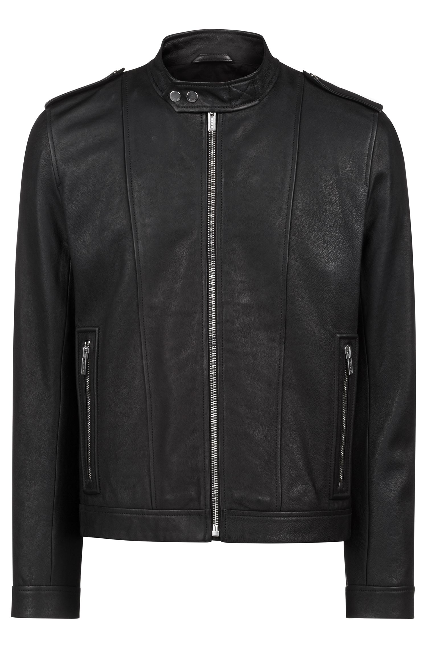Biker jacket in nappa leather with chunky hardware, Black