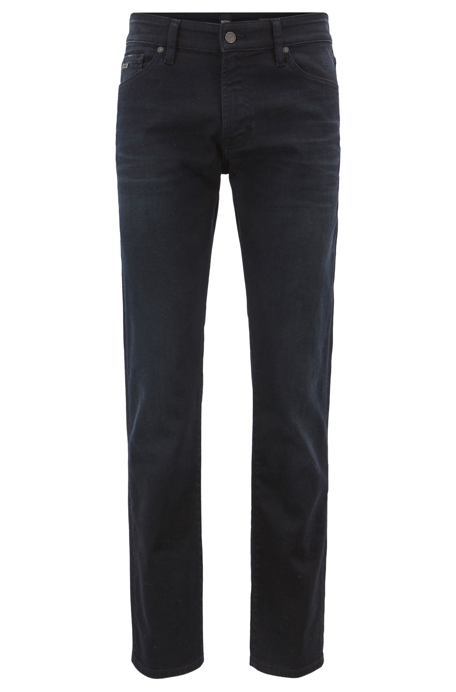 Regular-fit jeans in overdyed indigo stretch denim, Dark Blue