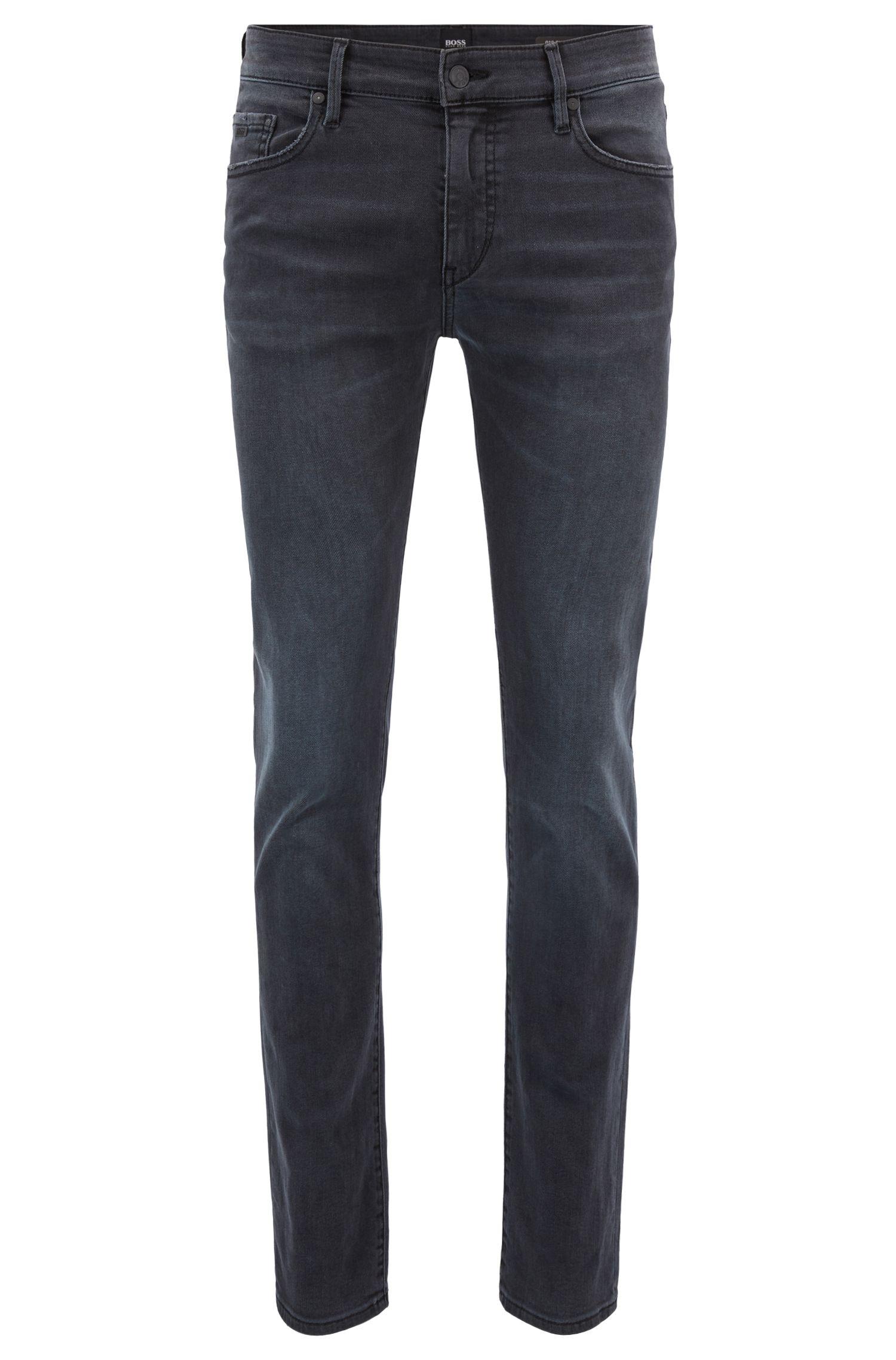 Skinny-fit jeans in washed black super-stretch denim, Charcoal