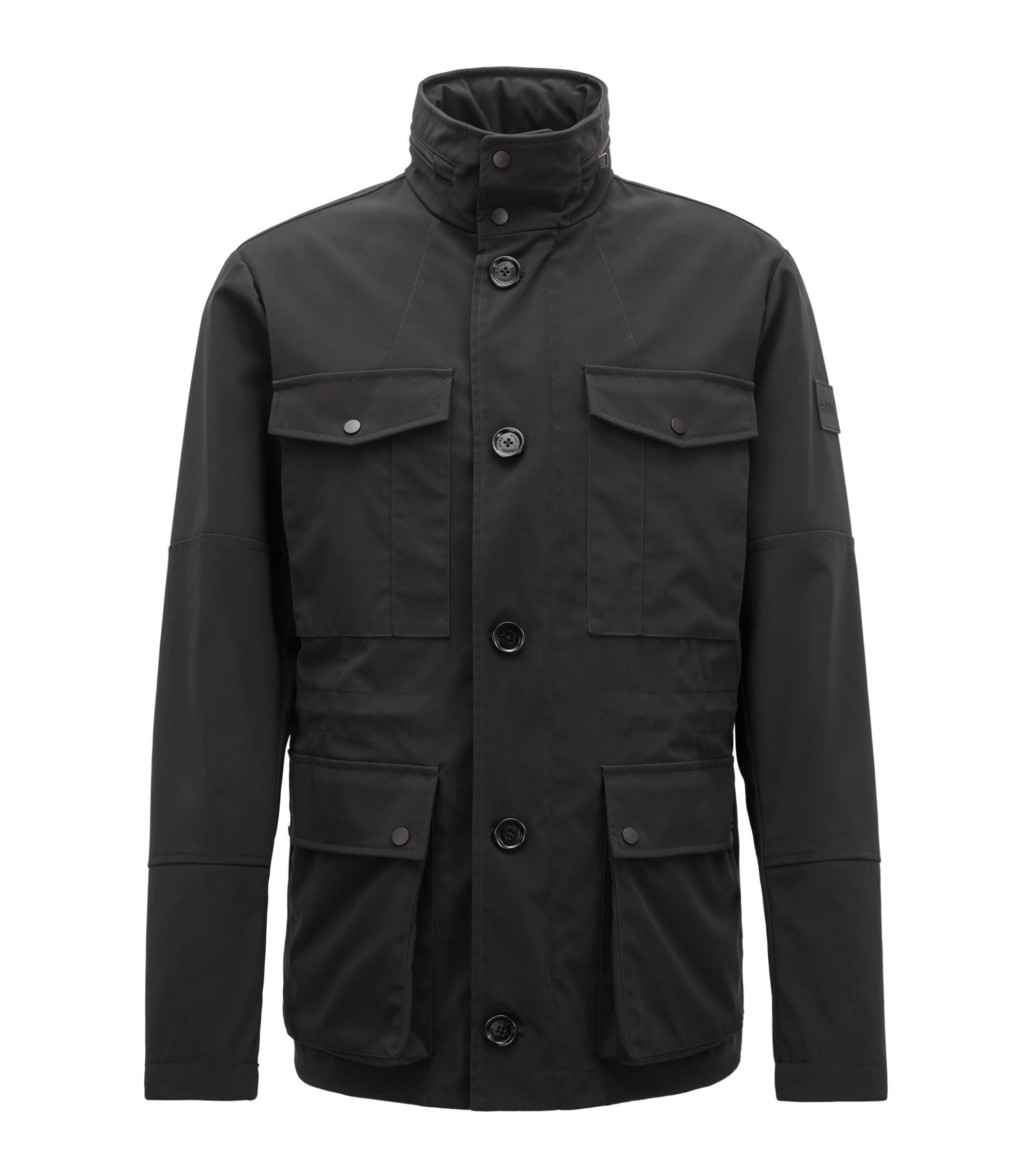 Three-in-one jacket in a water-repellent cotton blend, Black