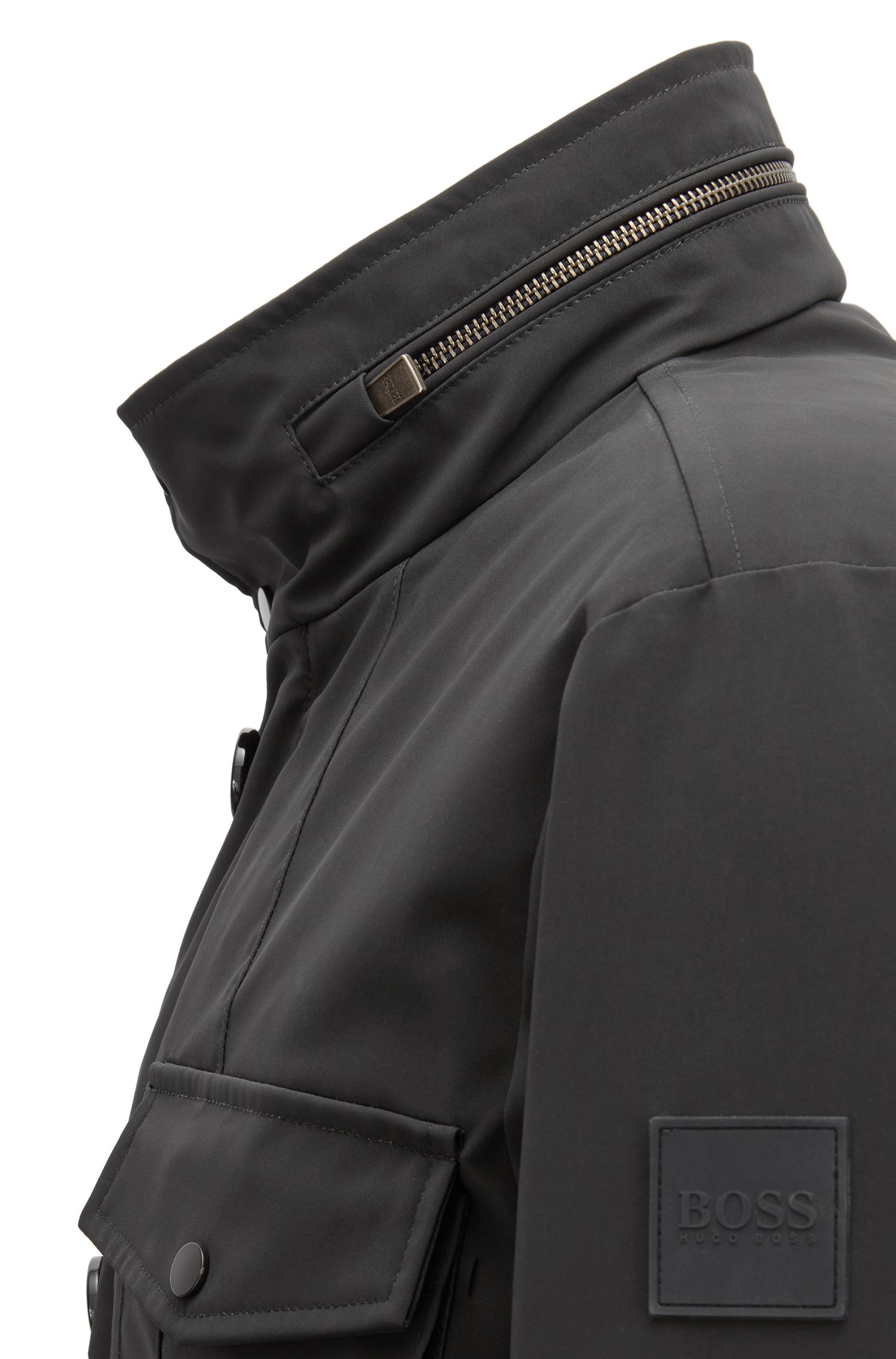 Field jacket in a water-repellent cotton blend, Black