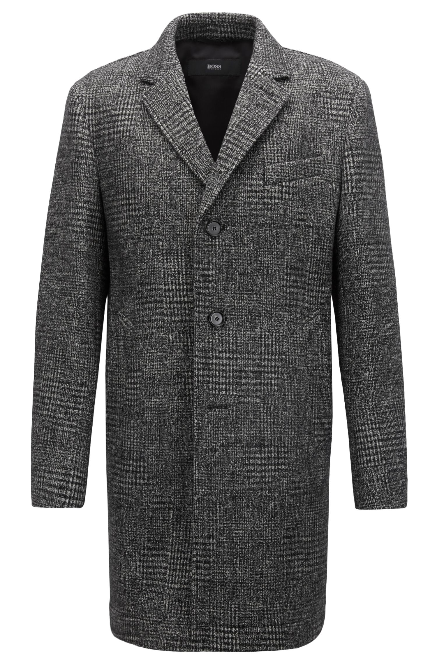 Slim-fit coat in mid-weight patterned fabric, Black