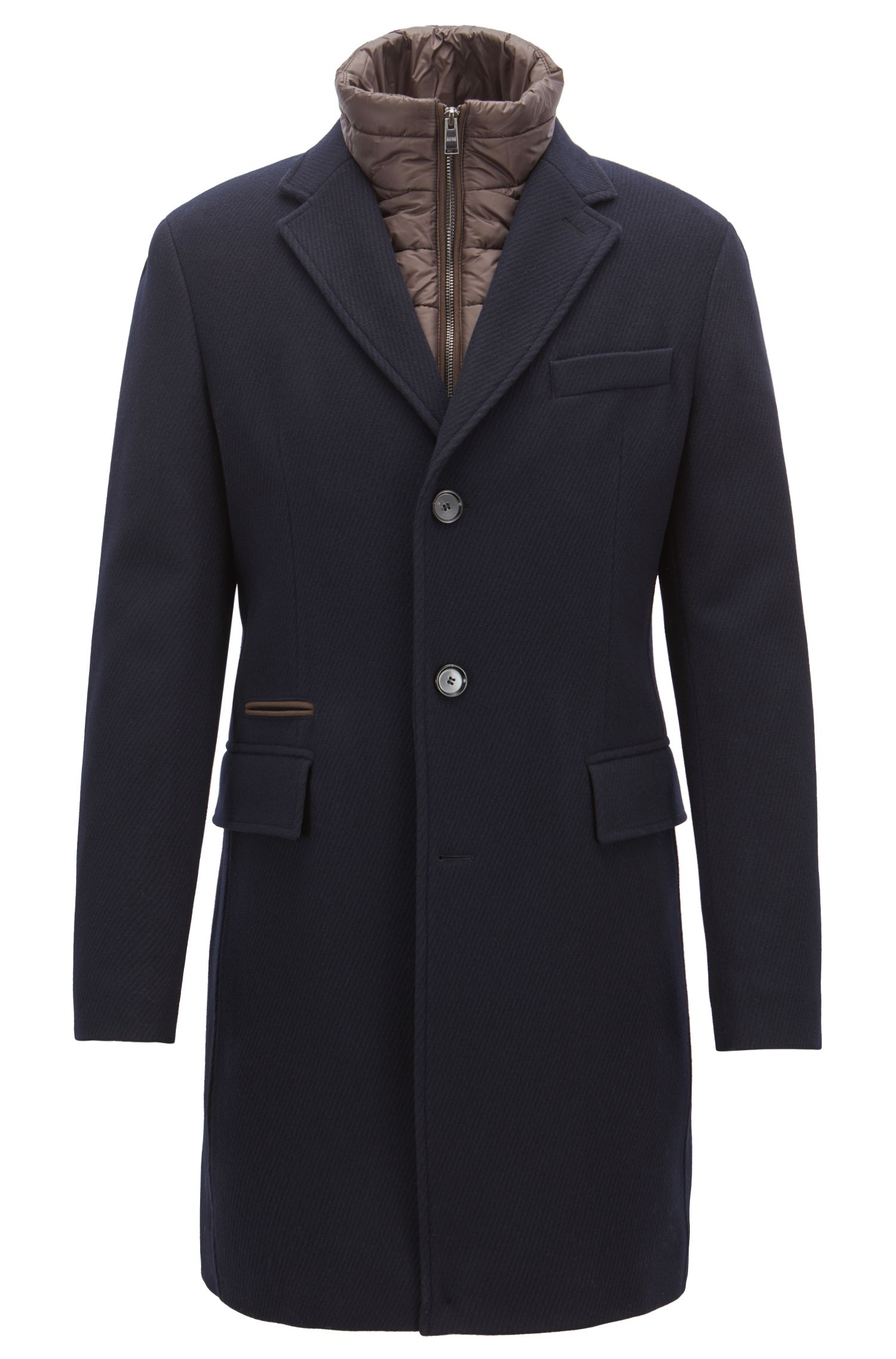 Slim-fit wool-blend coat with detachable quilted waistcoat, Open Blue