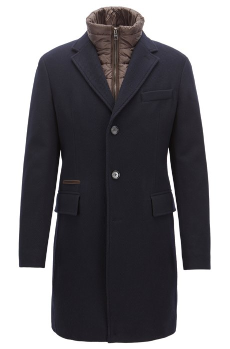 5669bf2fba06 BOSS - Slim-fit wool-blend coat with detachable quilted waistcoat