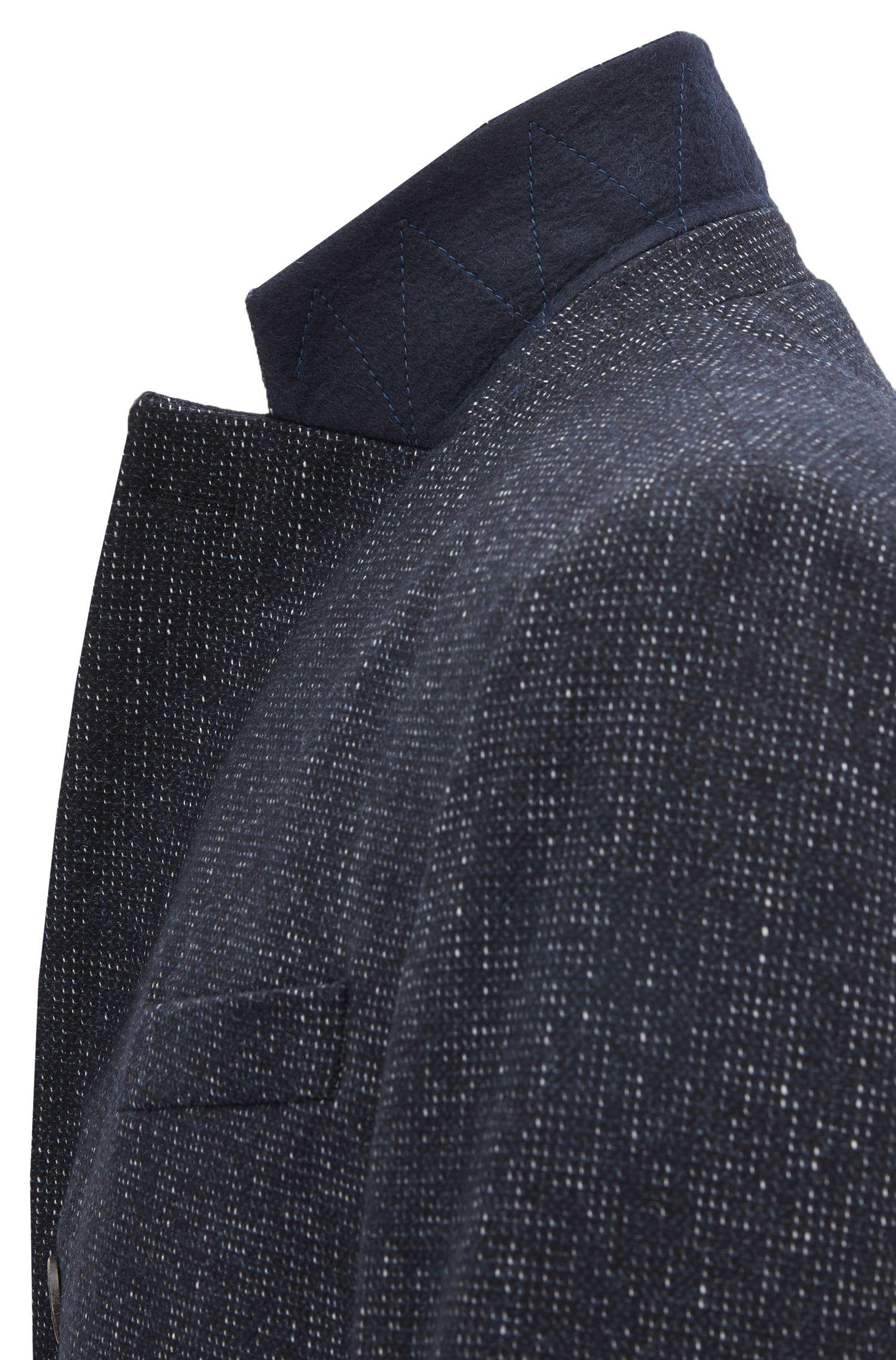 Slim-fit coat in a patterned wool blend, Open Blue