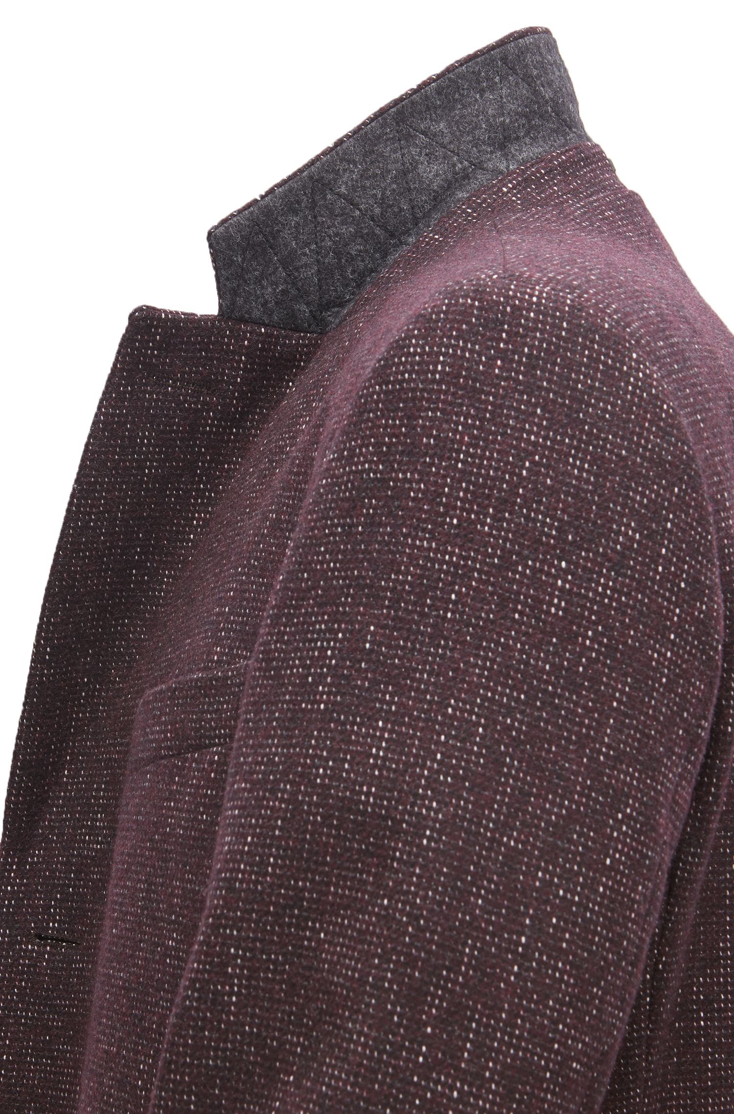 Slim-fit coat in a patterned wool blend, Dark Red