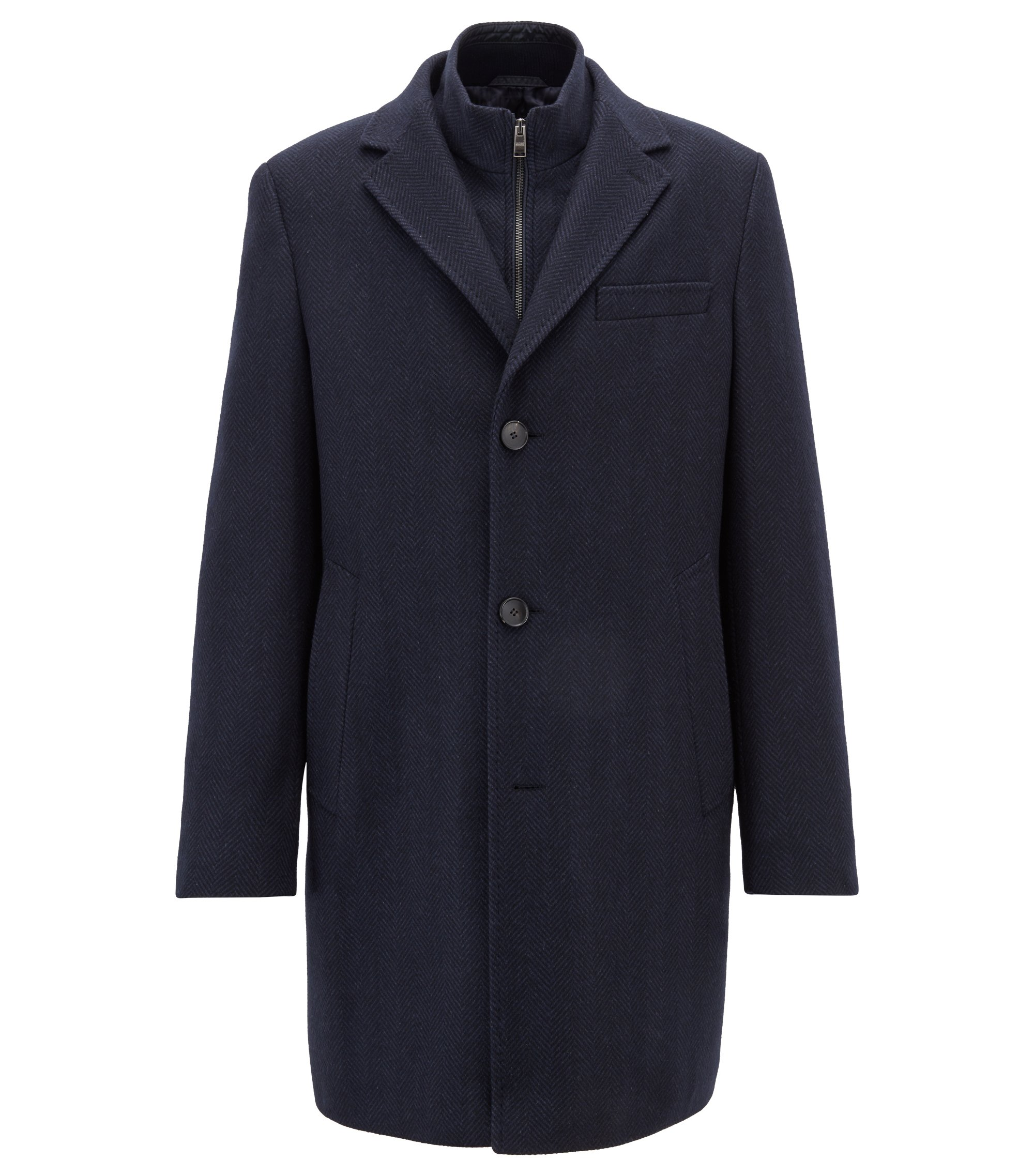 Tailored coat in Italian stretch fabric with detachable jacket, Open Blue