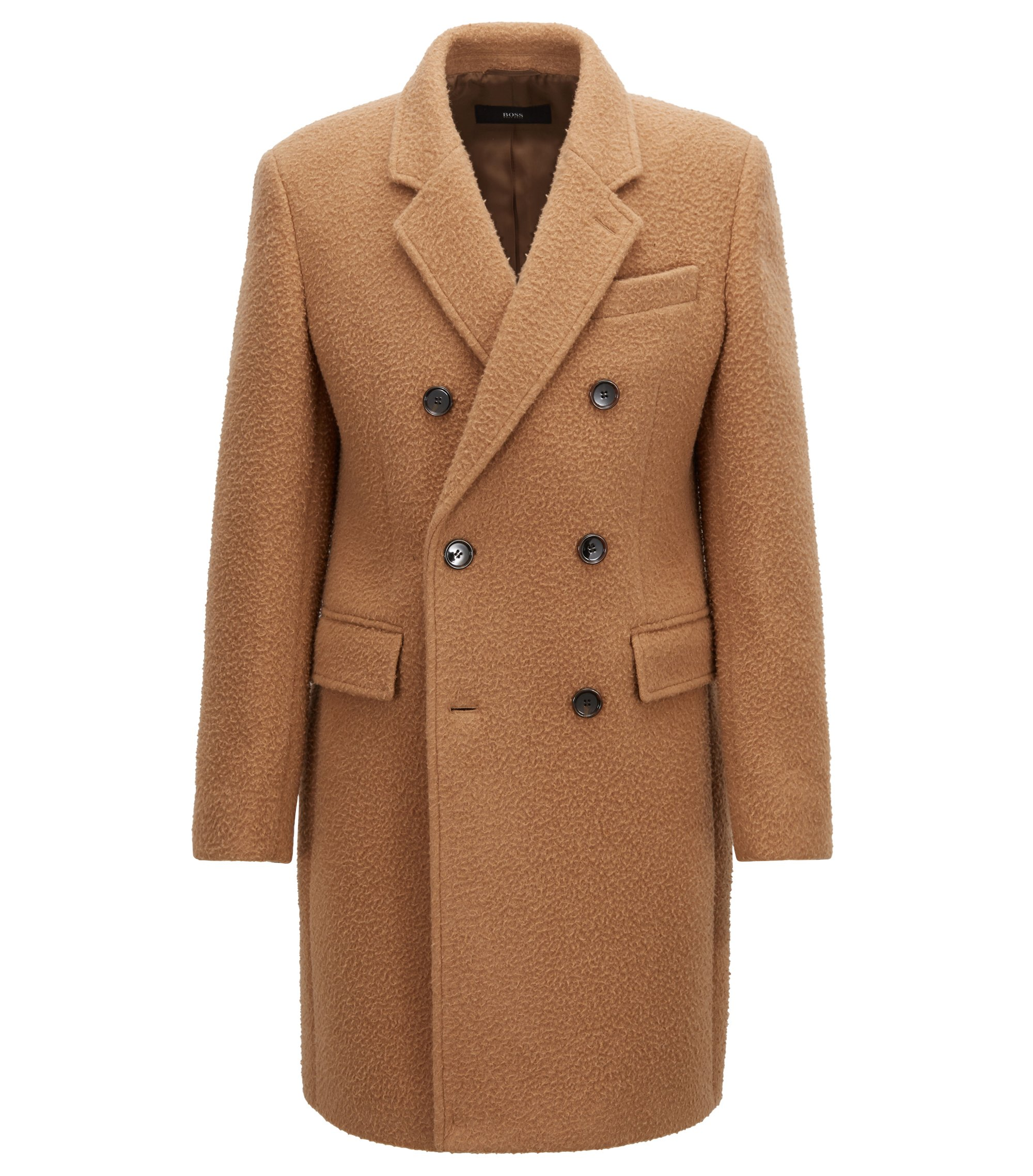 Double-breasted slim-fit coat in a blended wool, Beige
