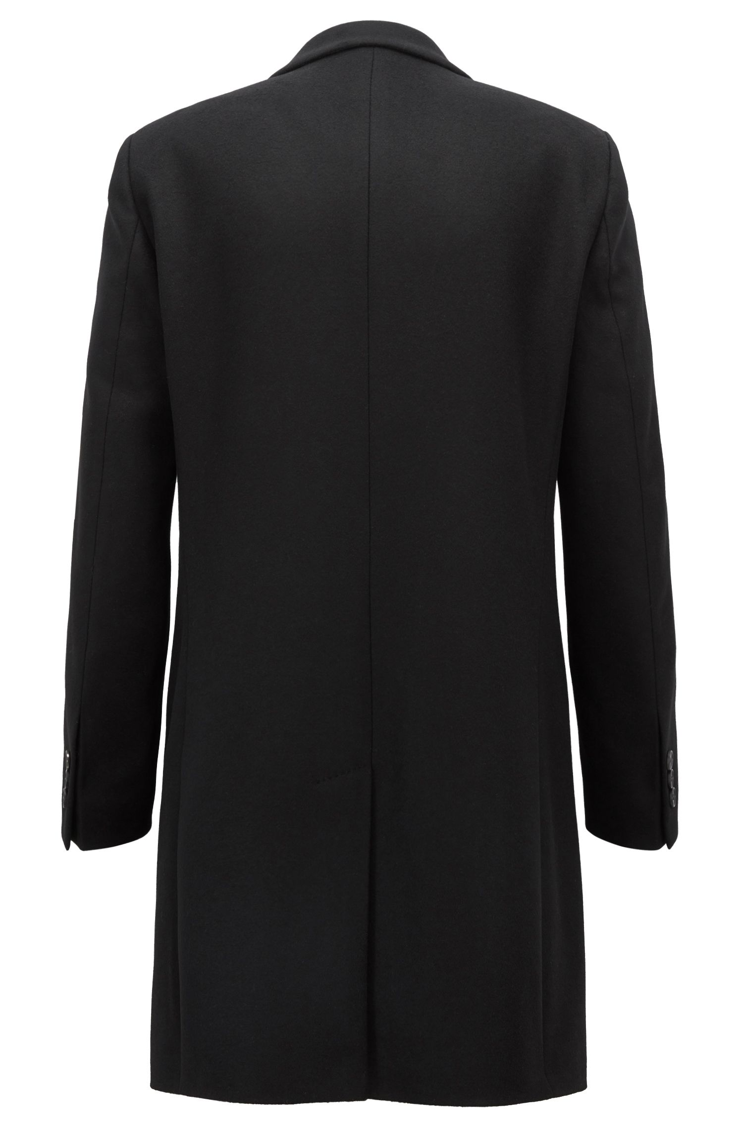 Formal coat in wool and cashmere with notch lapels, Black