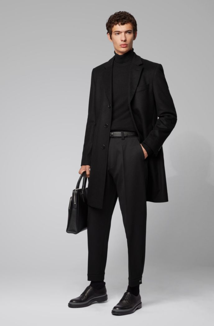 Formal coat in wool and cashmere with notch lapels