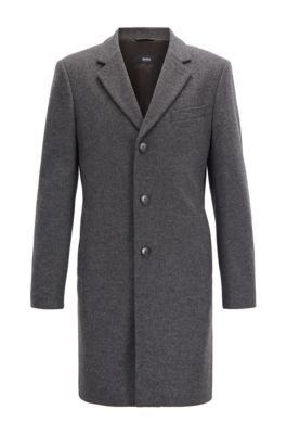 Formal coat in wool and cashmere with notch lapels, Grey
