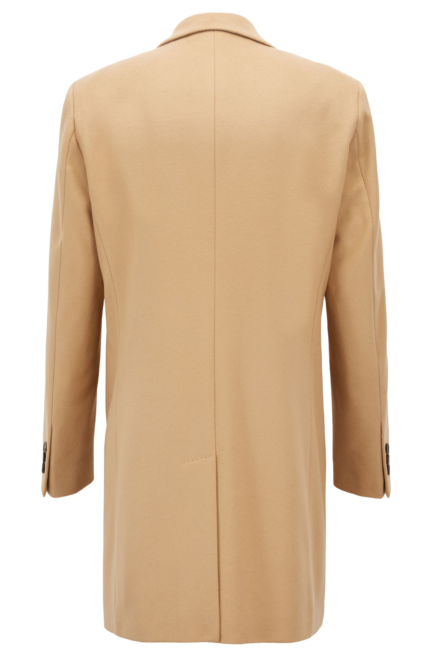 Formal coat in wool and cashmere with notch lapels, Beige